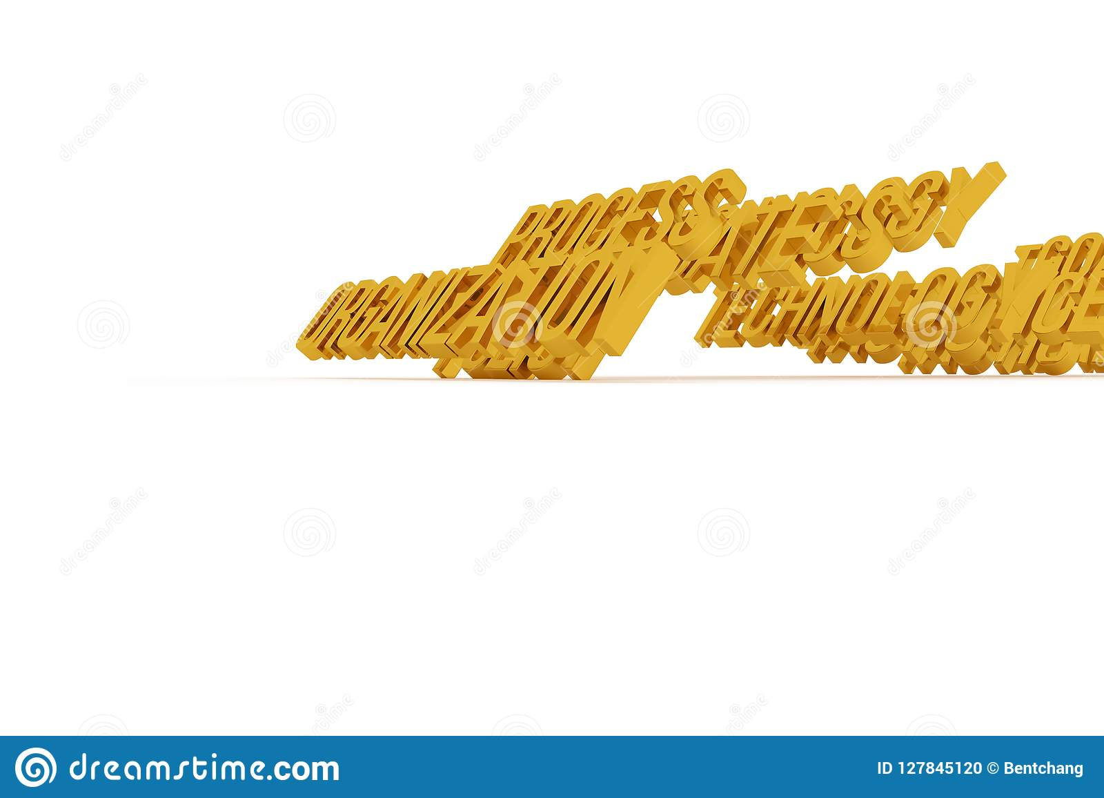 Организация, слова 3D дела схематические золотые Оформление, cgi, художественное произведение & текст