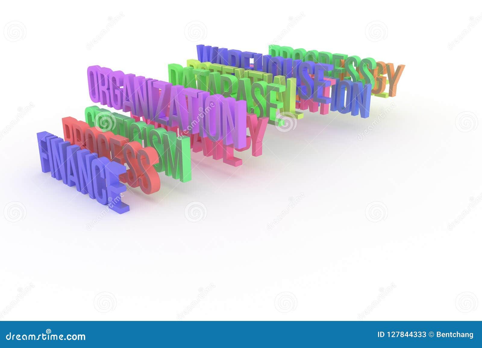 Организация & финансы, слова 3D дела схематические красочные Название, стиль, иллюстрация & сообщение