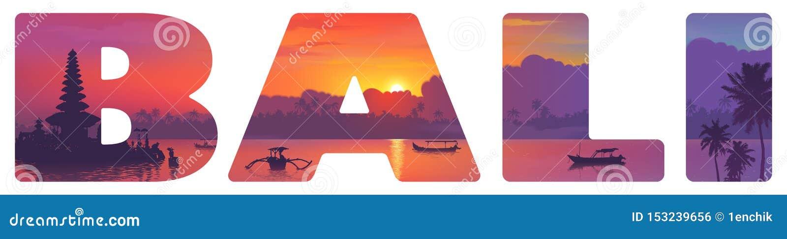 Ориентиры острова Бали: висок, океан, рыбацкие лодки и пальмы на заходе солнца, иллюстрации вектора в большом знаке оформления