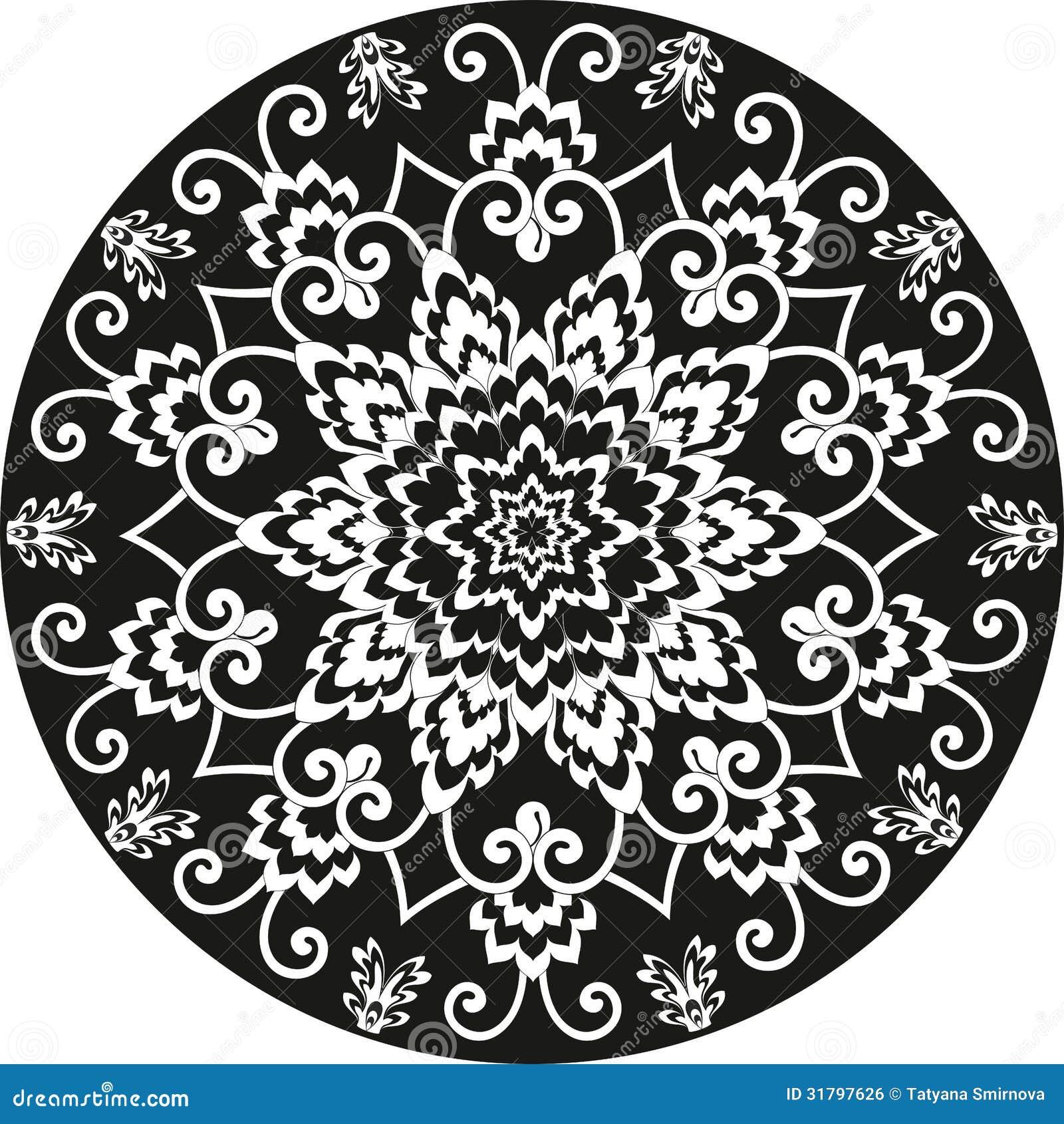 Черно белый цветочный узор