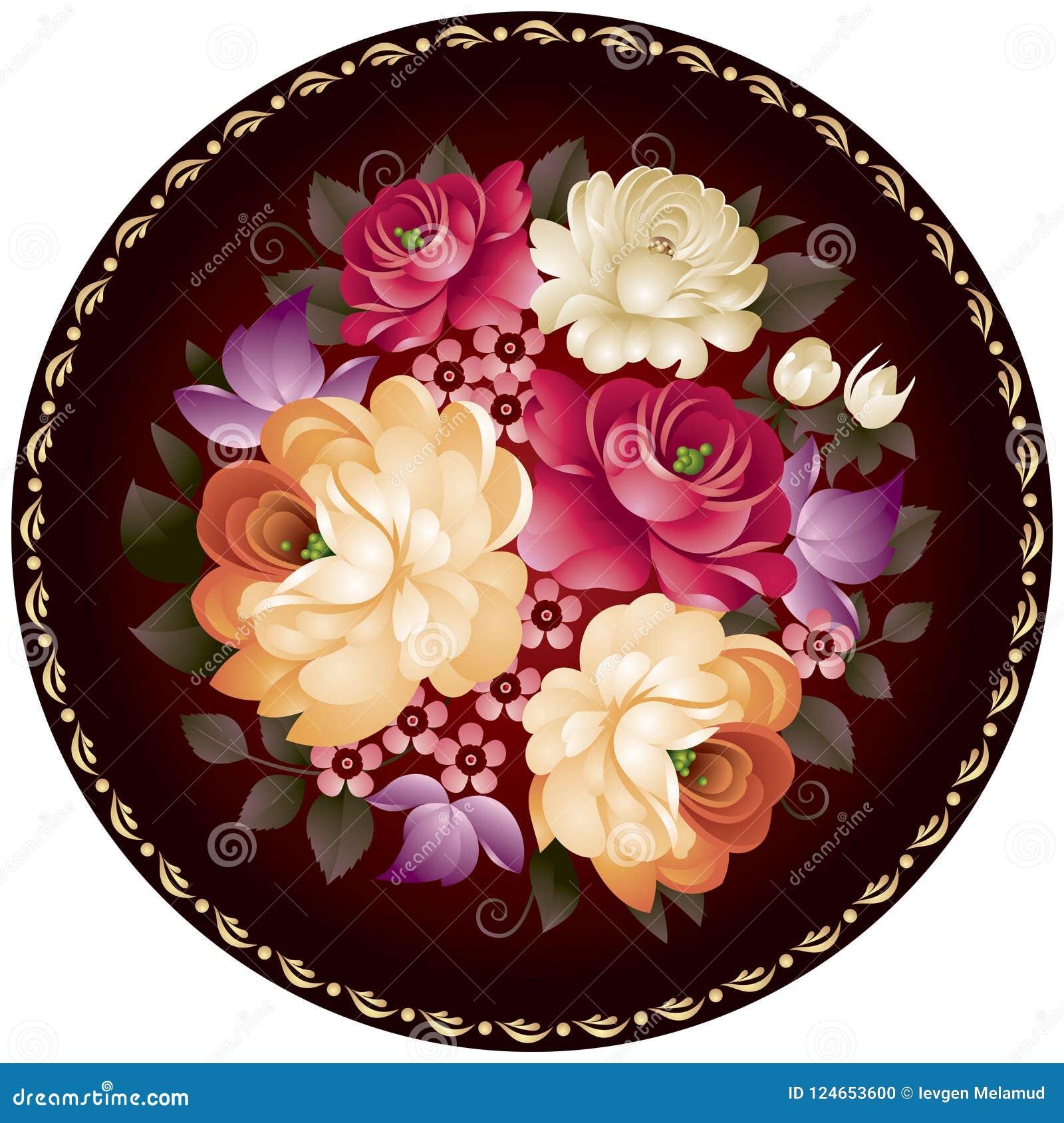 Орнамент цветка ремесленничества Zhostovo русский в векторе