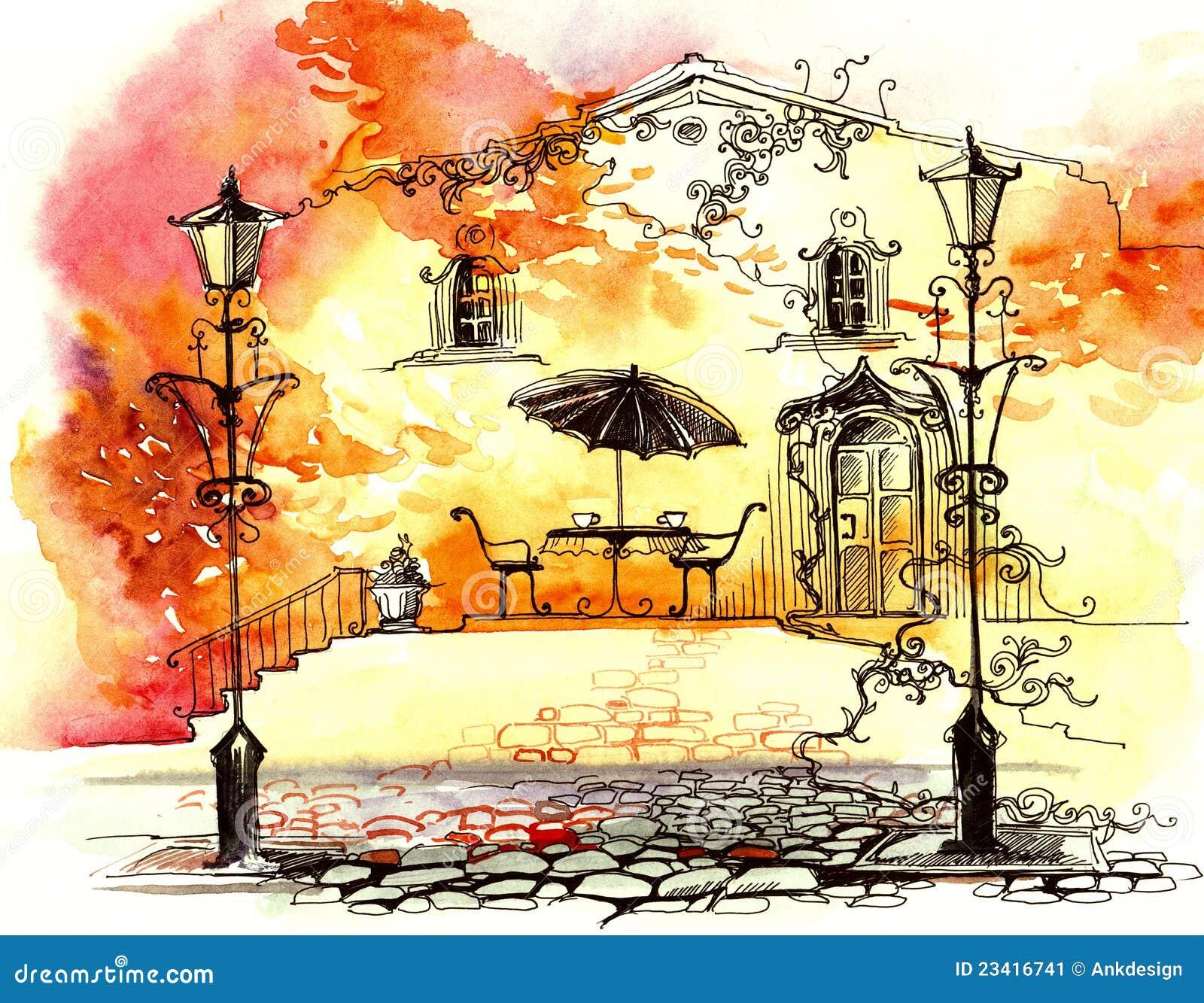 осень освещает улицу