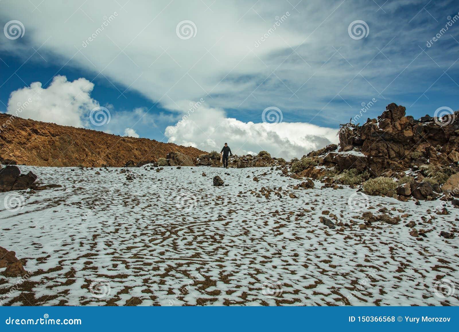 Основание вулкана Teide Долина лавы с белыми пятнами снега, отчасти покрытая красивыми облаками Яркое голубое небо Teide