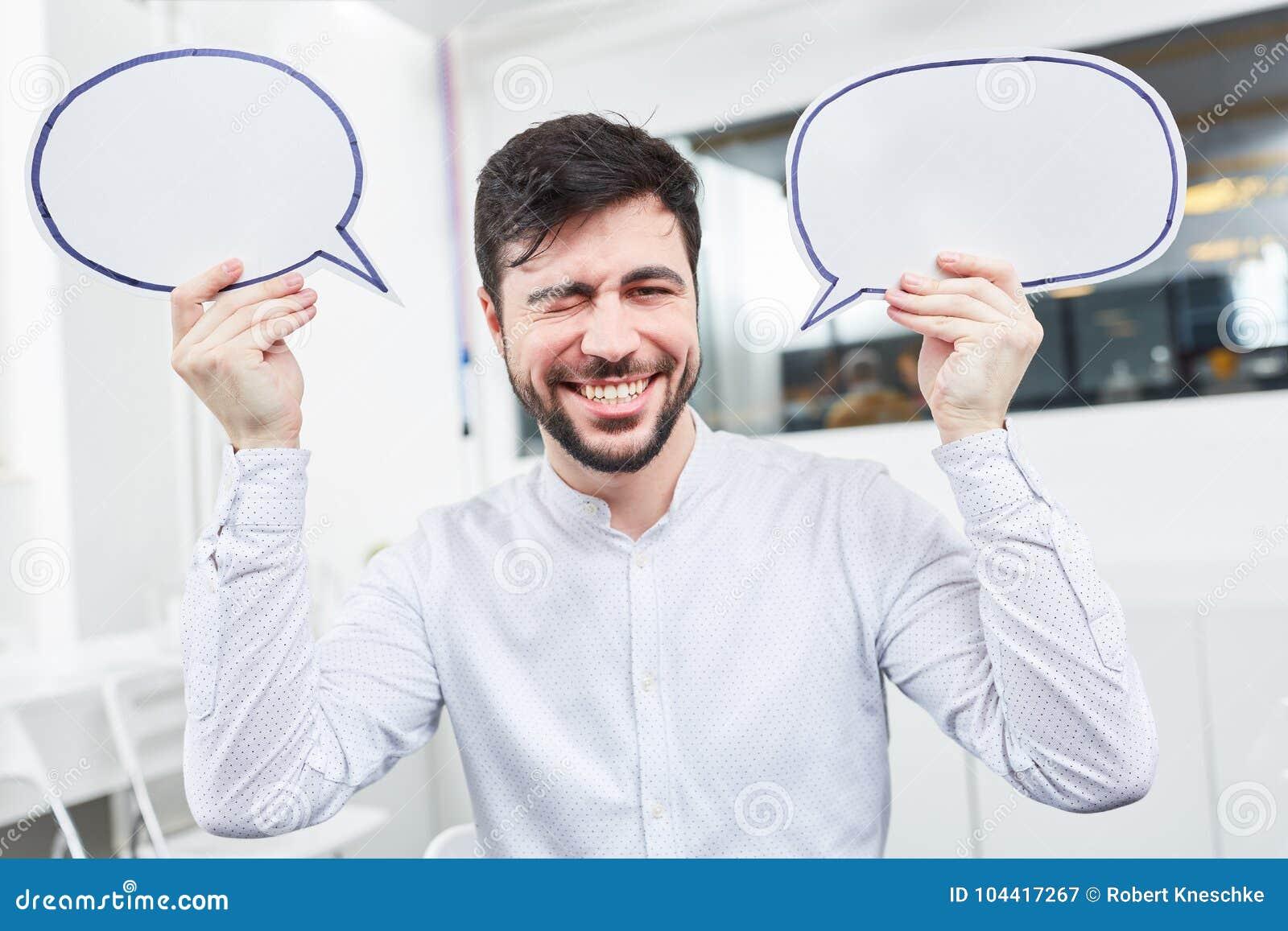 Основатель с пузырями речи
