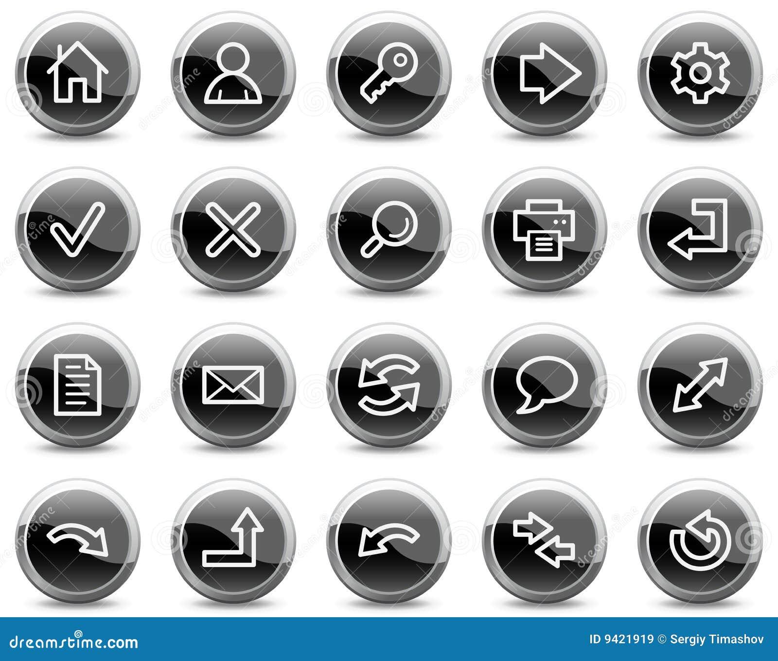 основные черные кнопки объезжают лоснистую сеть икон