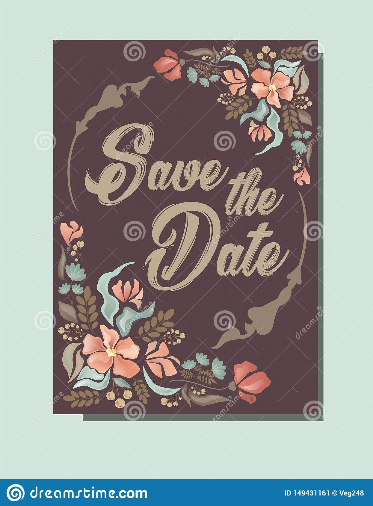 Wedding invitation, save the date card