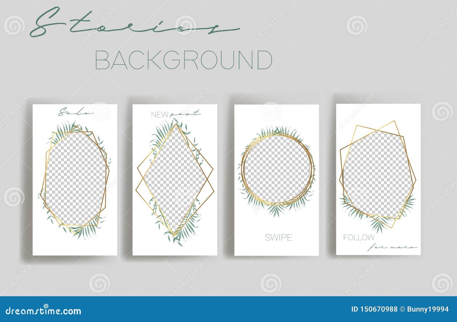 Design backgrounds for social media banner.Set of instagram stories frame templates.Vector cover.