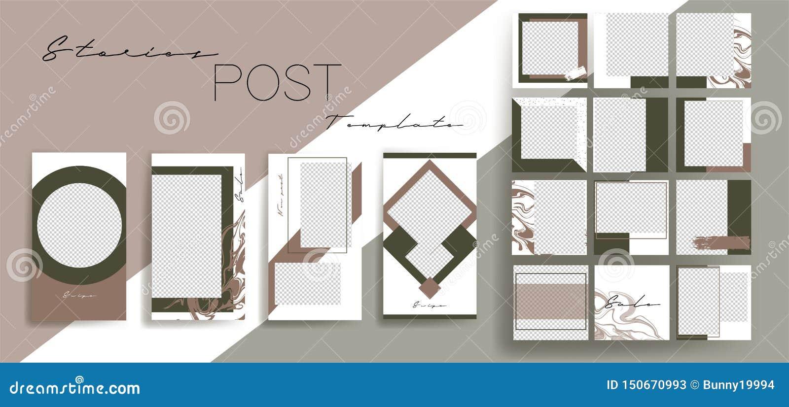 Design backgrounds for social media banner.Set of instagram stories and post frame templates.Vector cover.