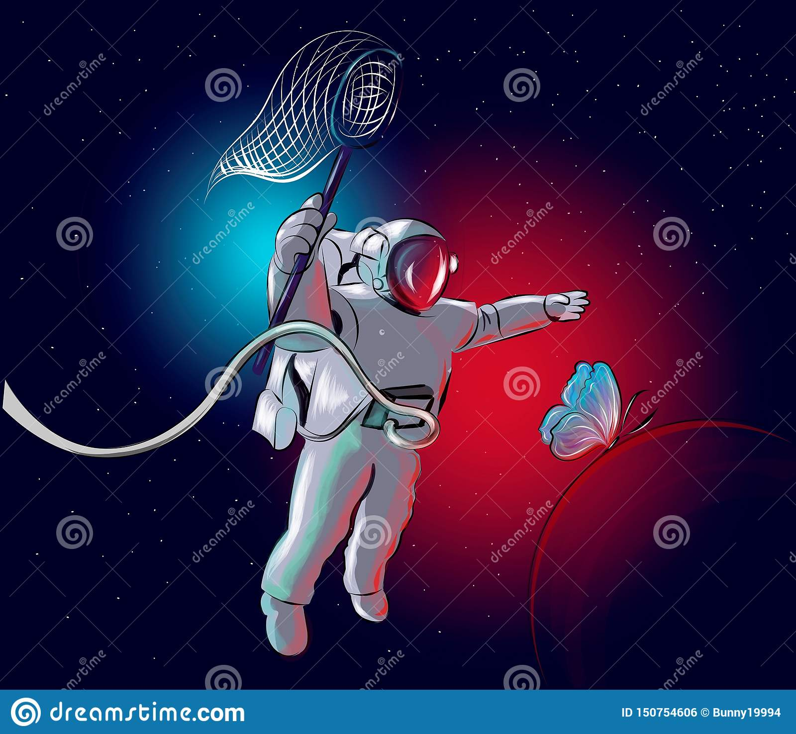 Cosmonaut is chasing a butterfly.