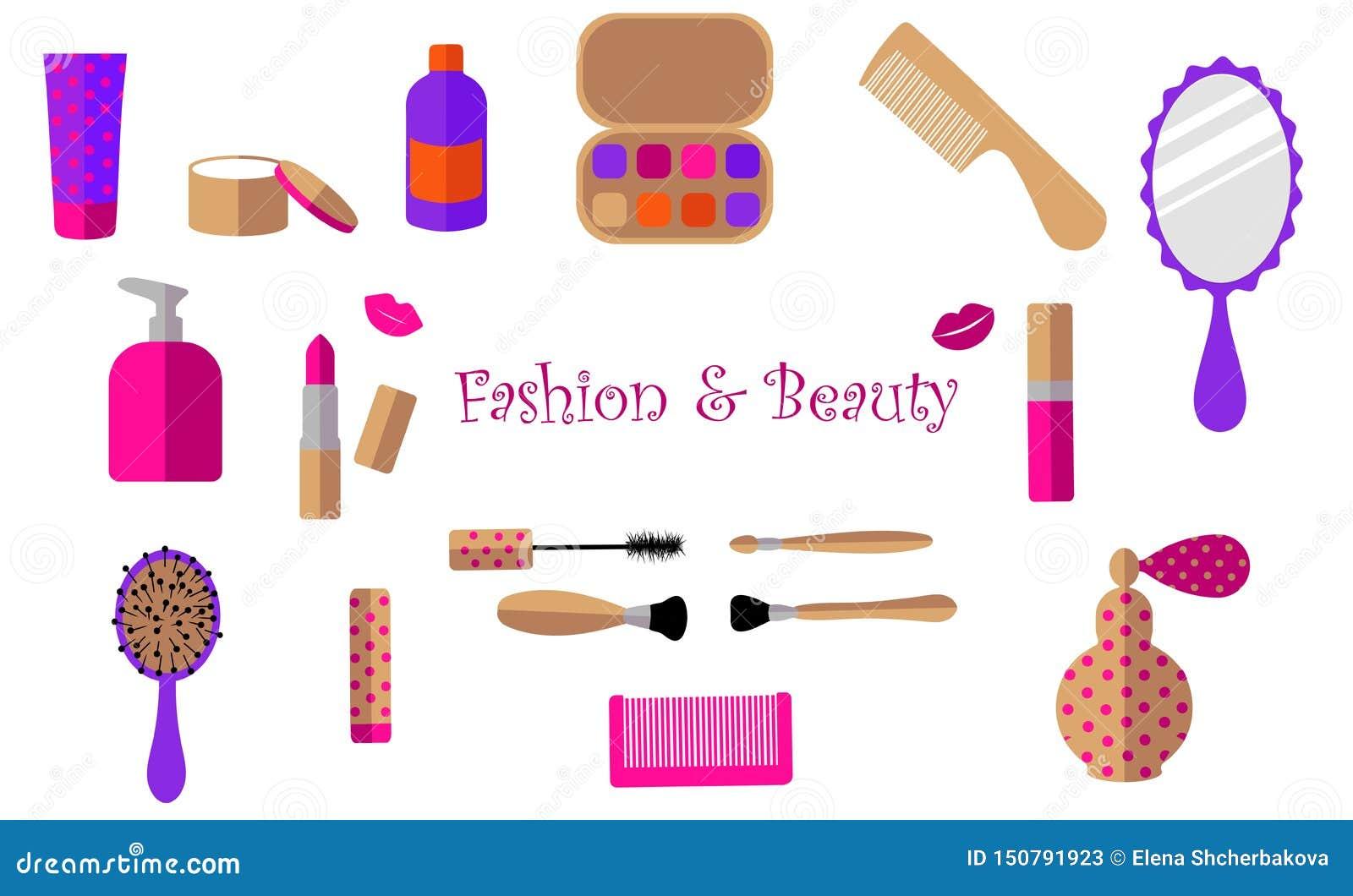 Lipstick, cream, jar, mascara, perfume, bottle, eye shadow, mirror, comb, lips, brush on a white background