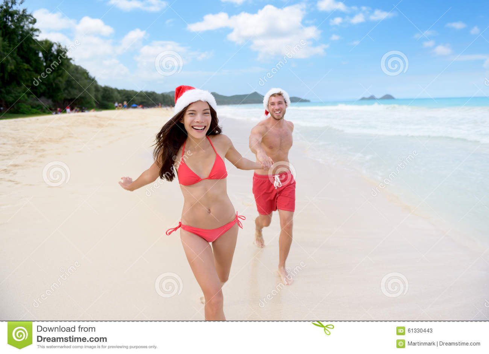 Ослаблять пар рождества счастливый на перемещении пляжа