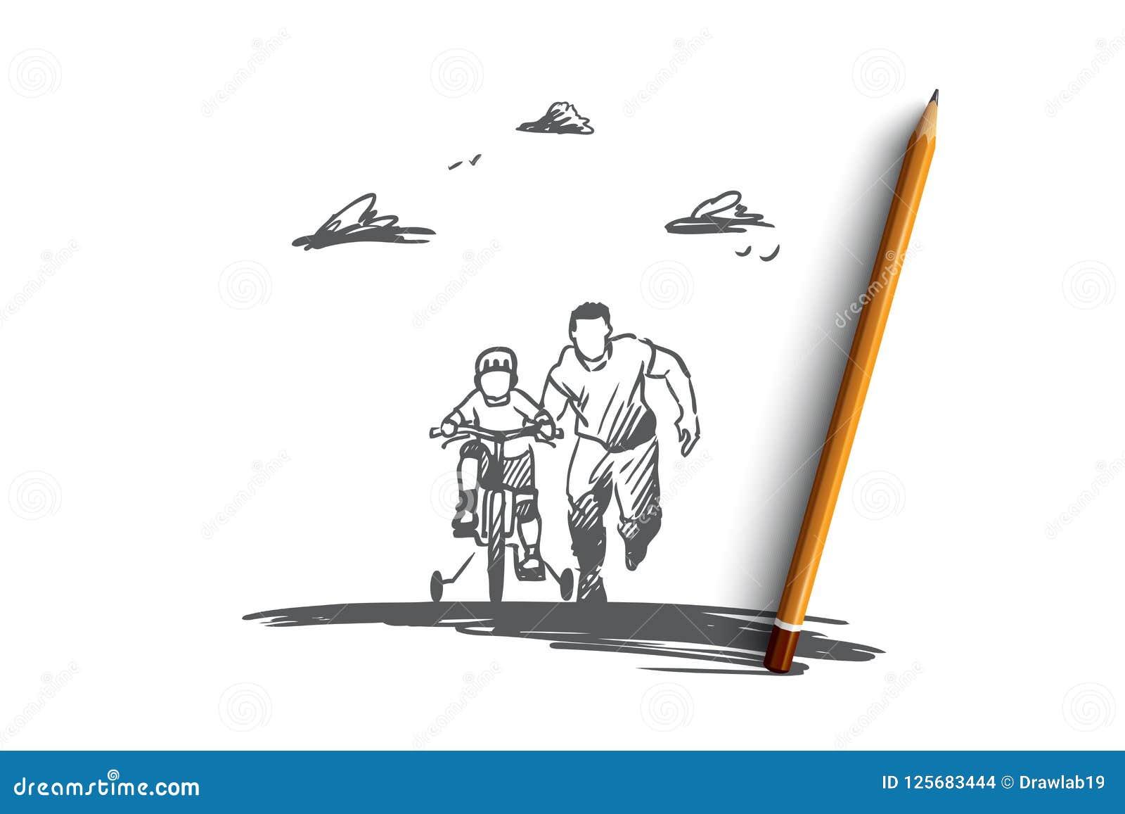 Отец, день, семья, ребенок, счастливая концепция Вектор нарисованный рукой изолированный