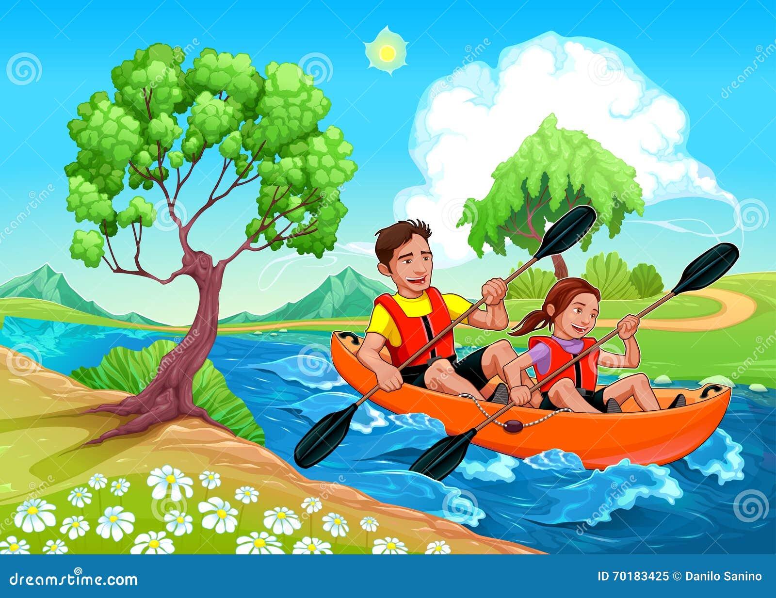 Отец и дочь на каяке в реке