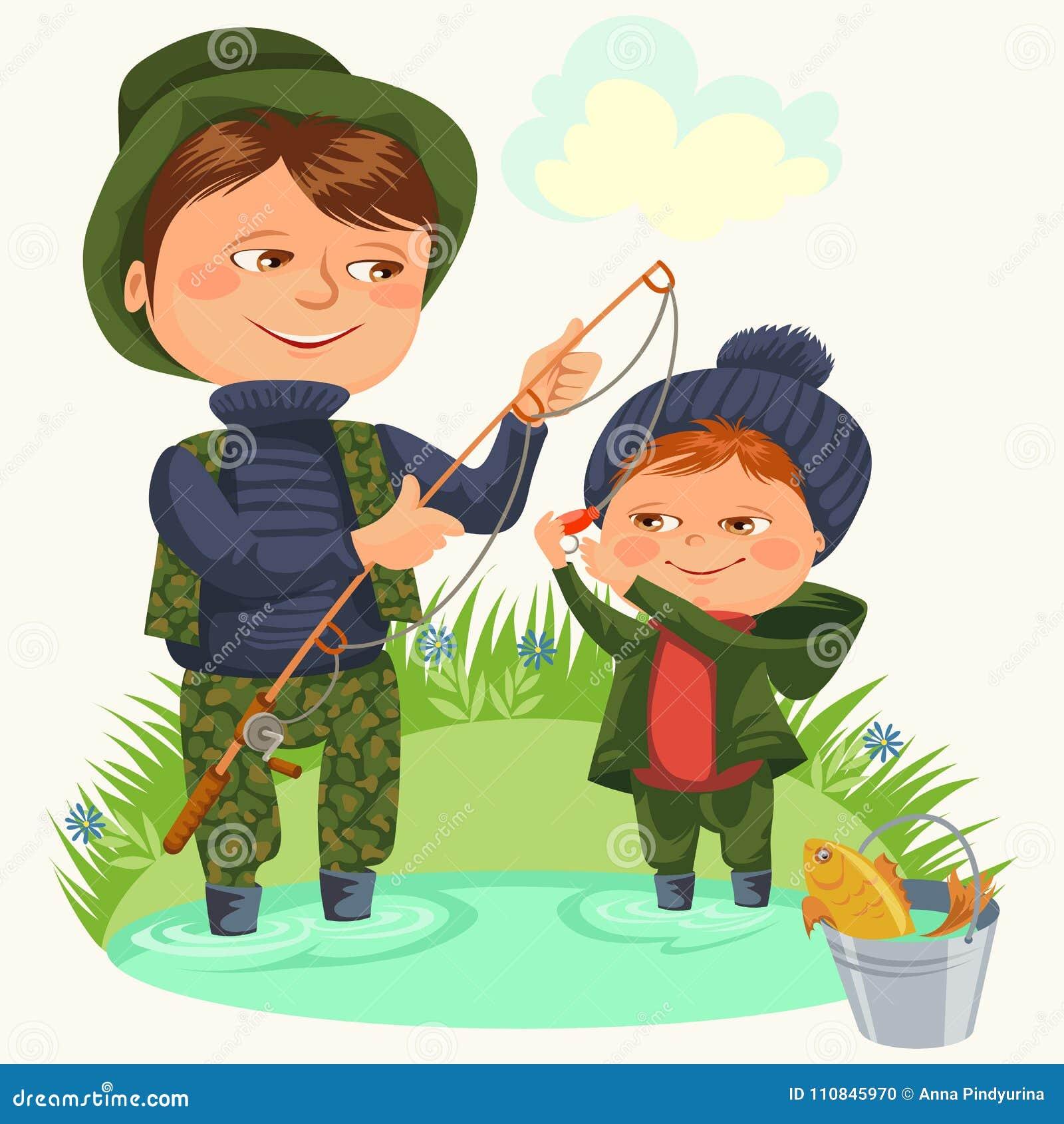 Отец и сын мочат крепежный стержень рыбной ловли и bucket полные рыбы, день отцов каникул детей семьи счастливый, папа с ребенком