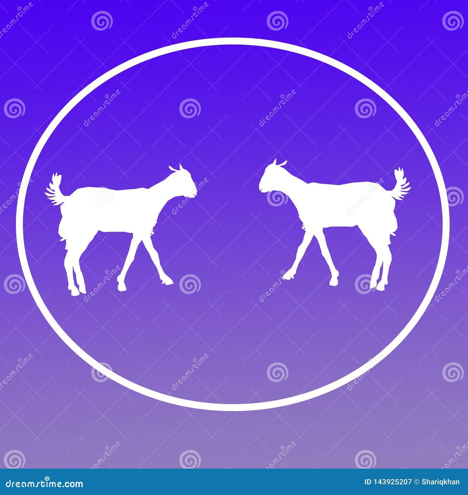 Отечественные графики значка предпосылки логотипа козы скотин