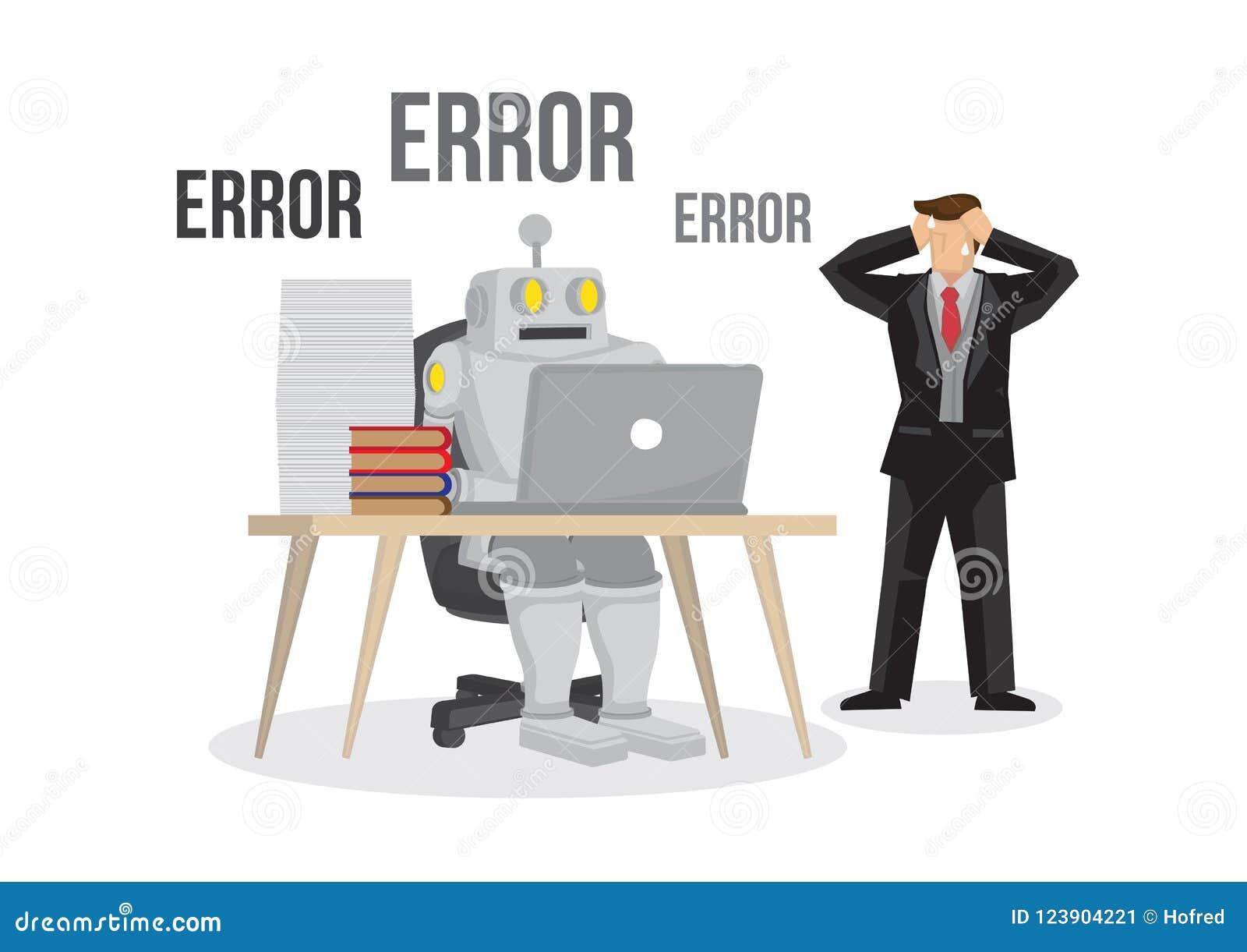 Отказы робота искусственного интеллекта сломанные вниз с должного к overlo