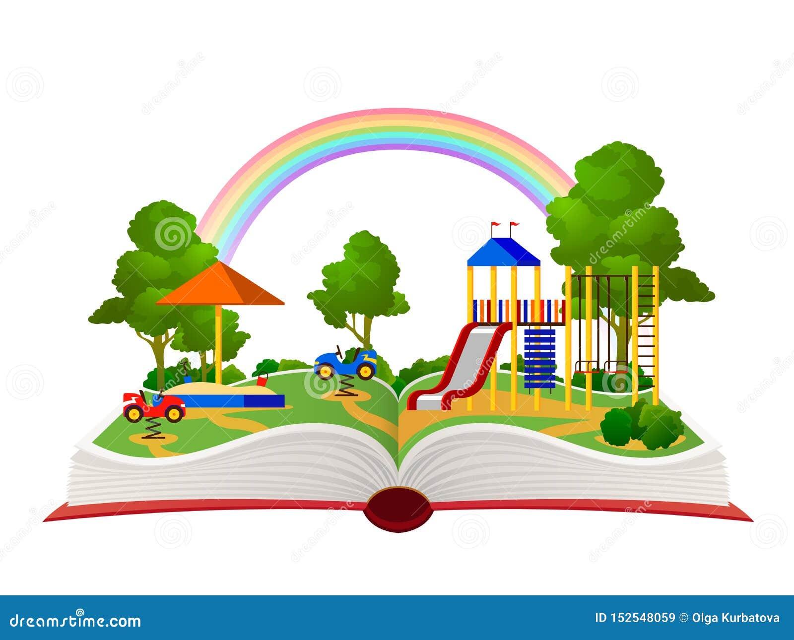 Открытая спортивная площадка книги Сад фантазии, уча библиотеку леса зеленого цвета парка атракционов, квартира ландшафта мечты д