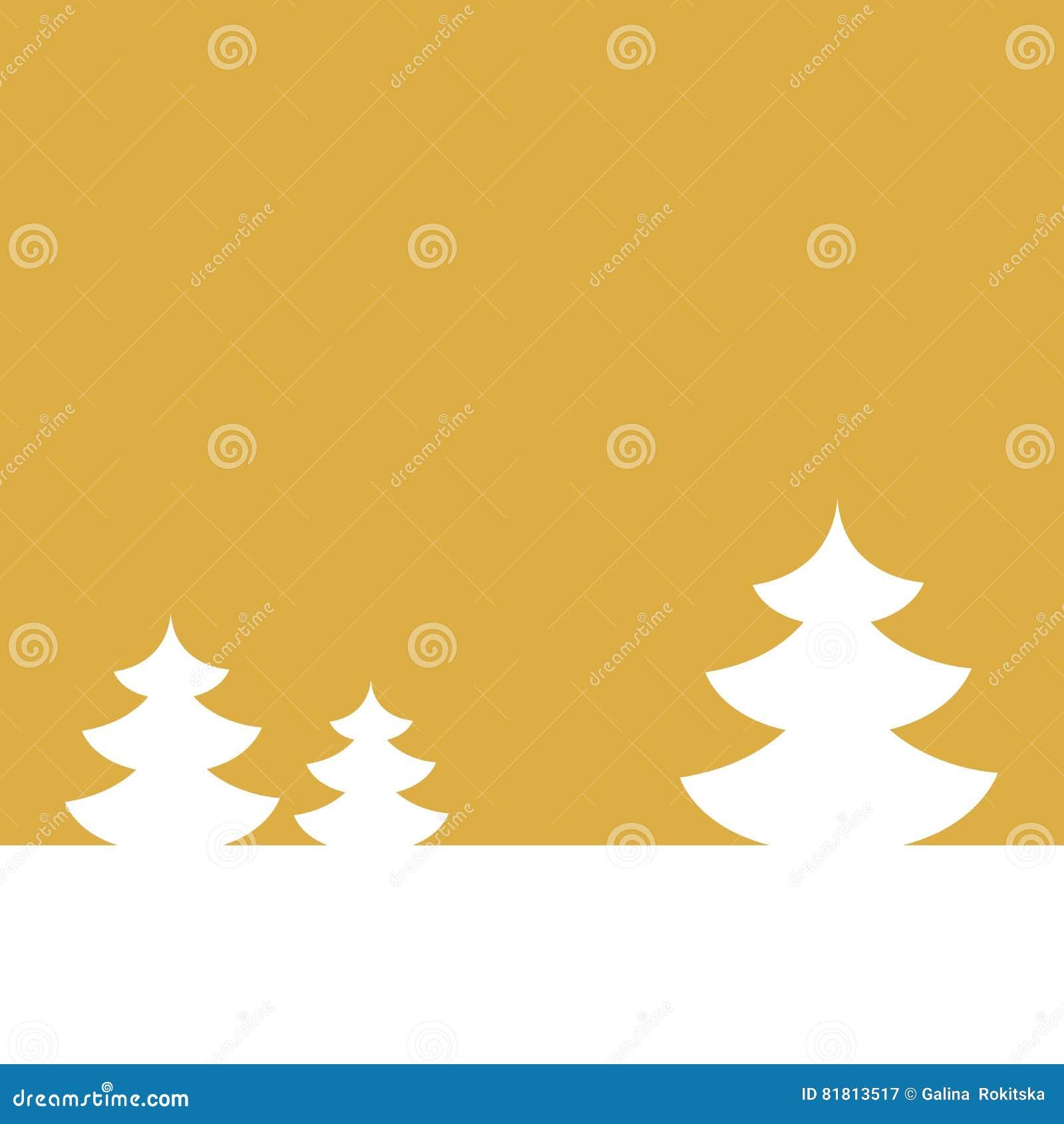 Открытка на счастливый Новый Год зима вала ландшафта ели Белая ель на предпосылке золота также вектор иллюстрации притяжки corel