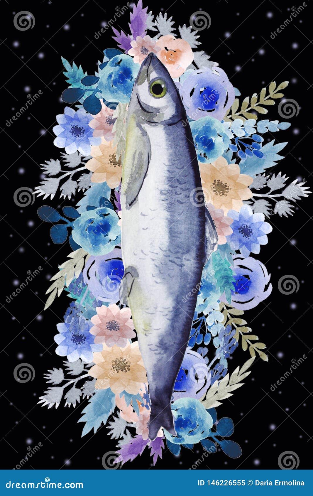 Открытка с рыбами