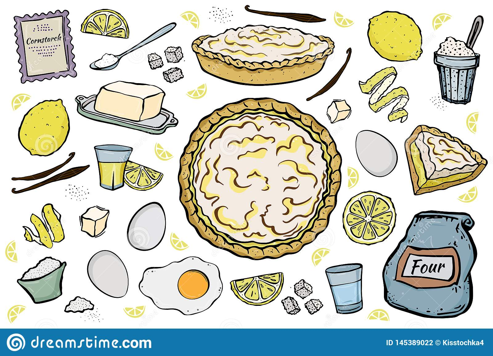 Открытые ингредиенты пирога лимона