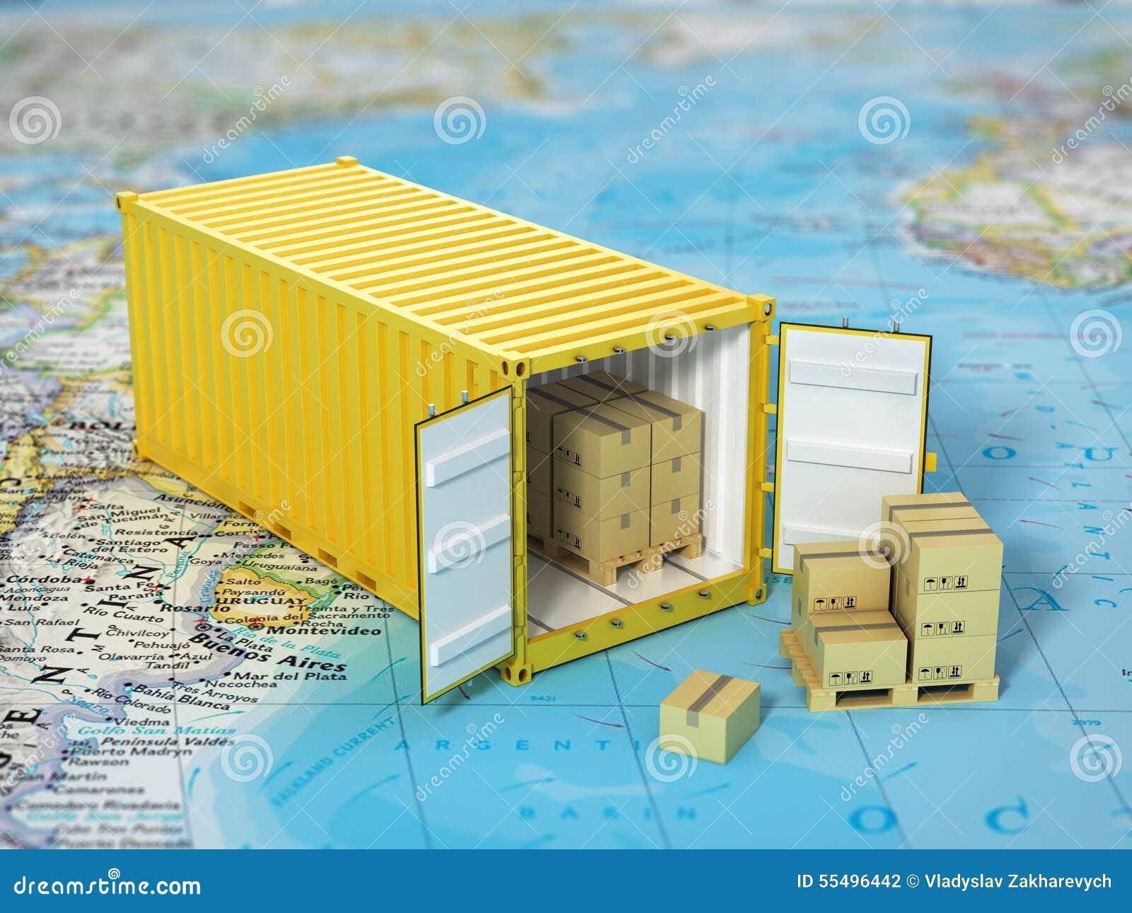 Открытый контейнер с картонными коробками на карте мира Transporta