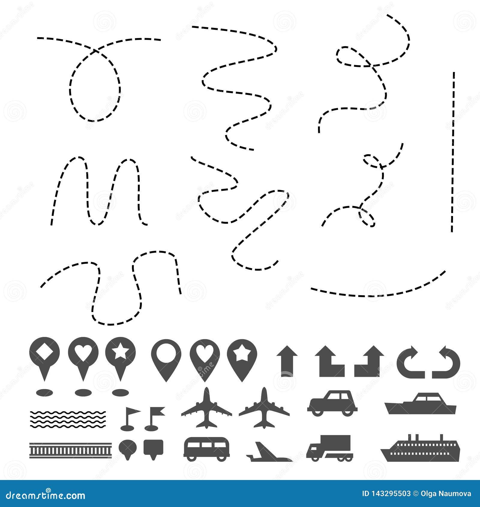 Отметки навигации значков штыря карты путешествуют gps для подписания другого набора символов на белизне