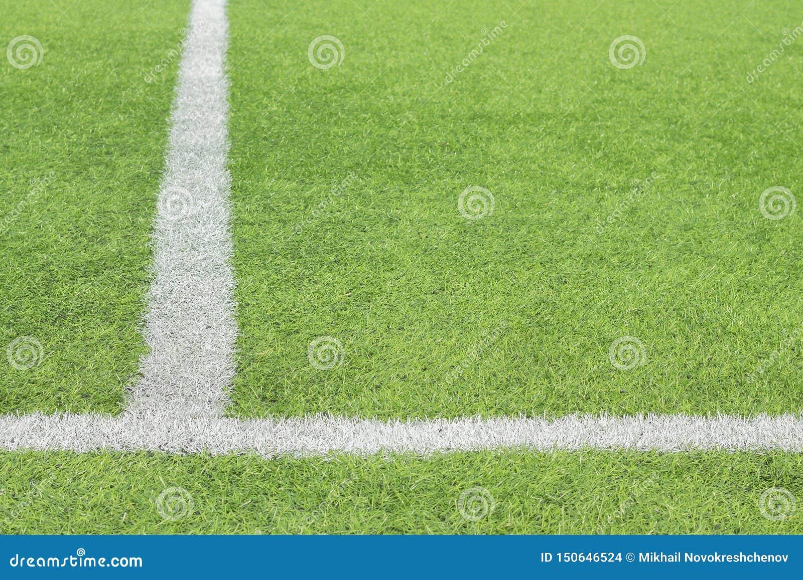 Отмечать белая краска на зеленой траве футбольного поля