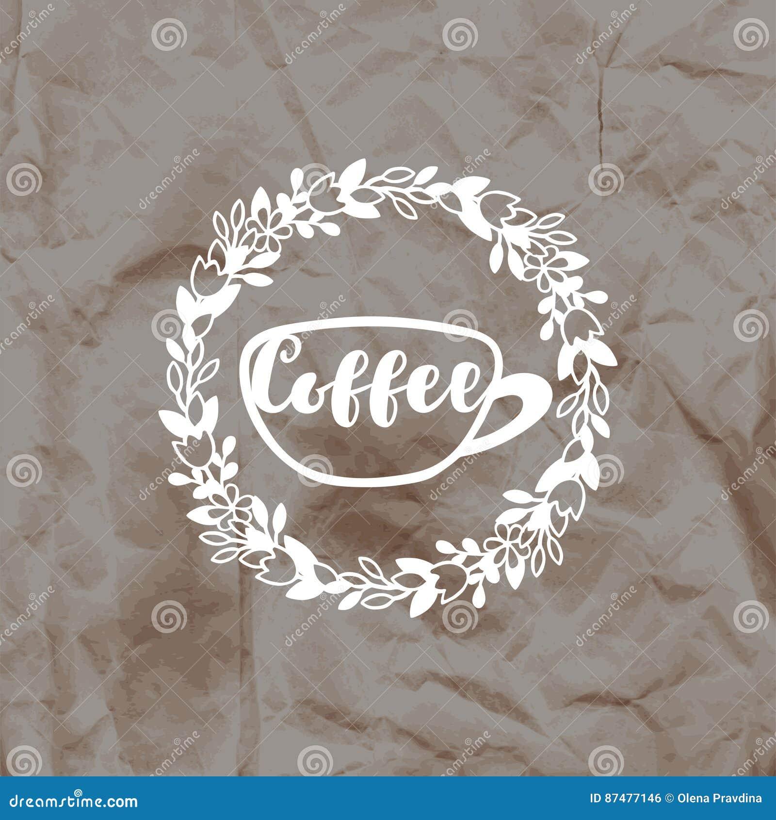 Отпечаток кофе штемпеля на скомканной предпосылке бумаги kraft