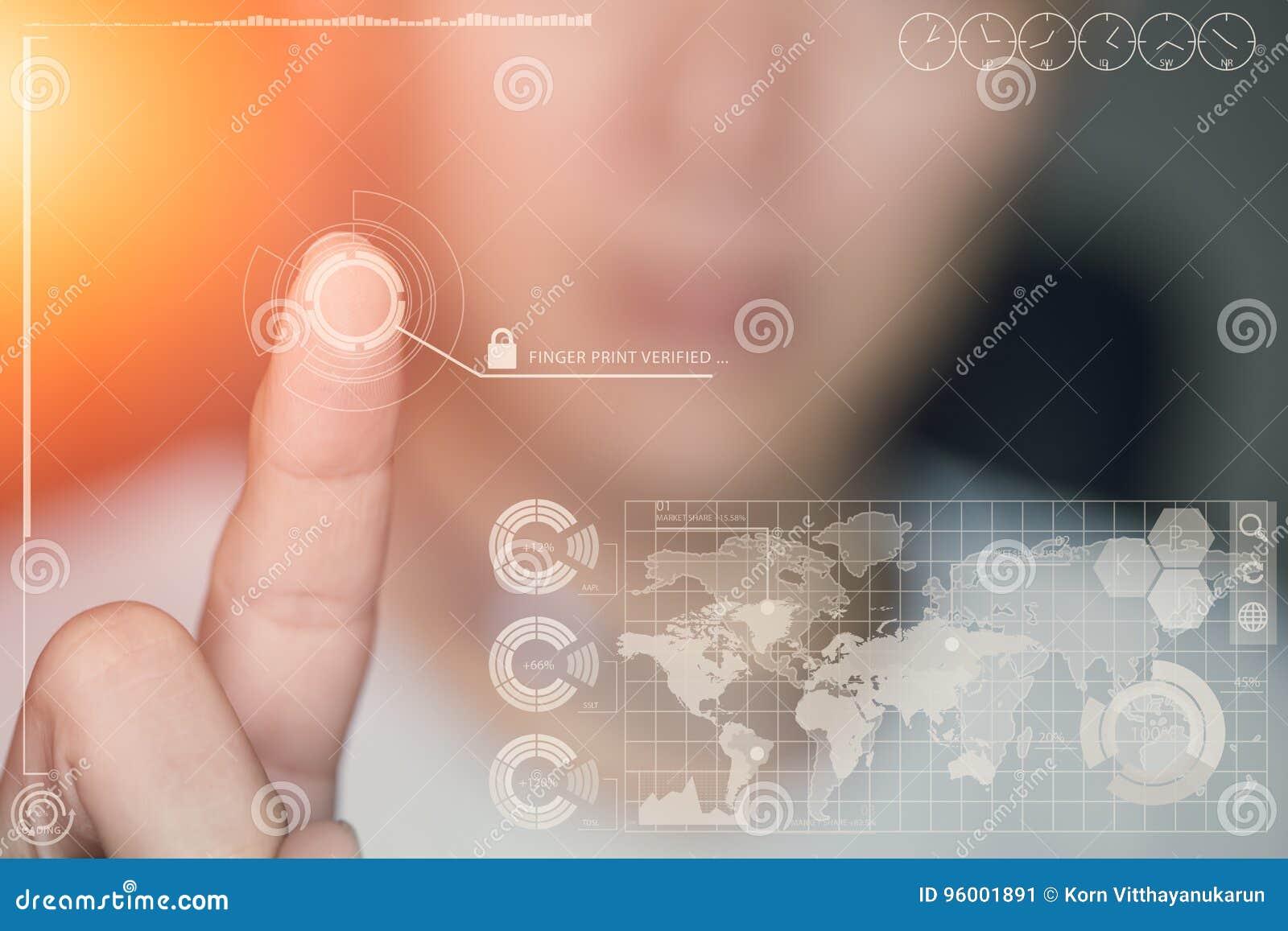 Отпечаток пальцев касания пальца руки подтверженный с безопасностью