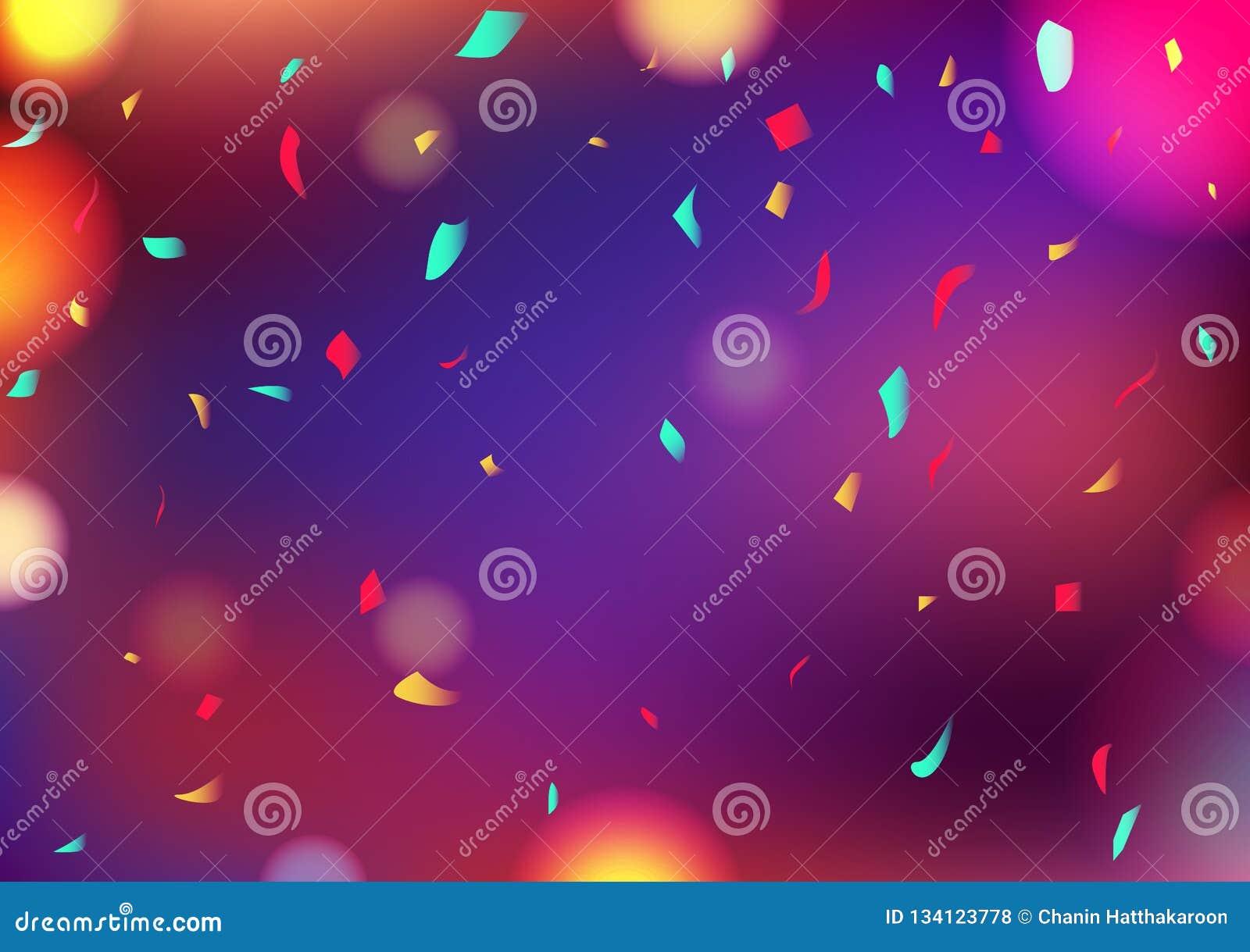 Отпразднуйте confetti падая, вектор украшения предпосылки Bokeh партии расплывчатый красочный абстрактный концепции события фести