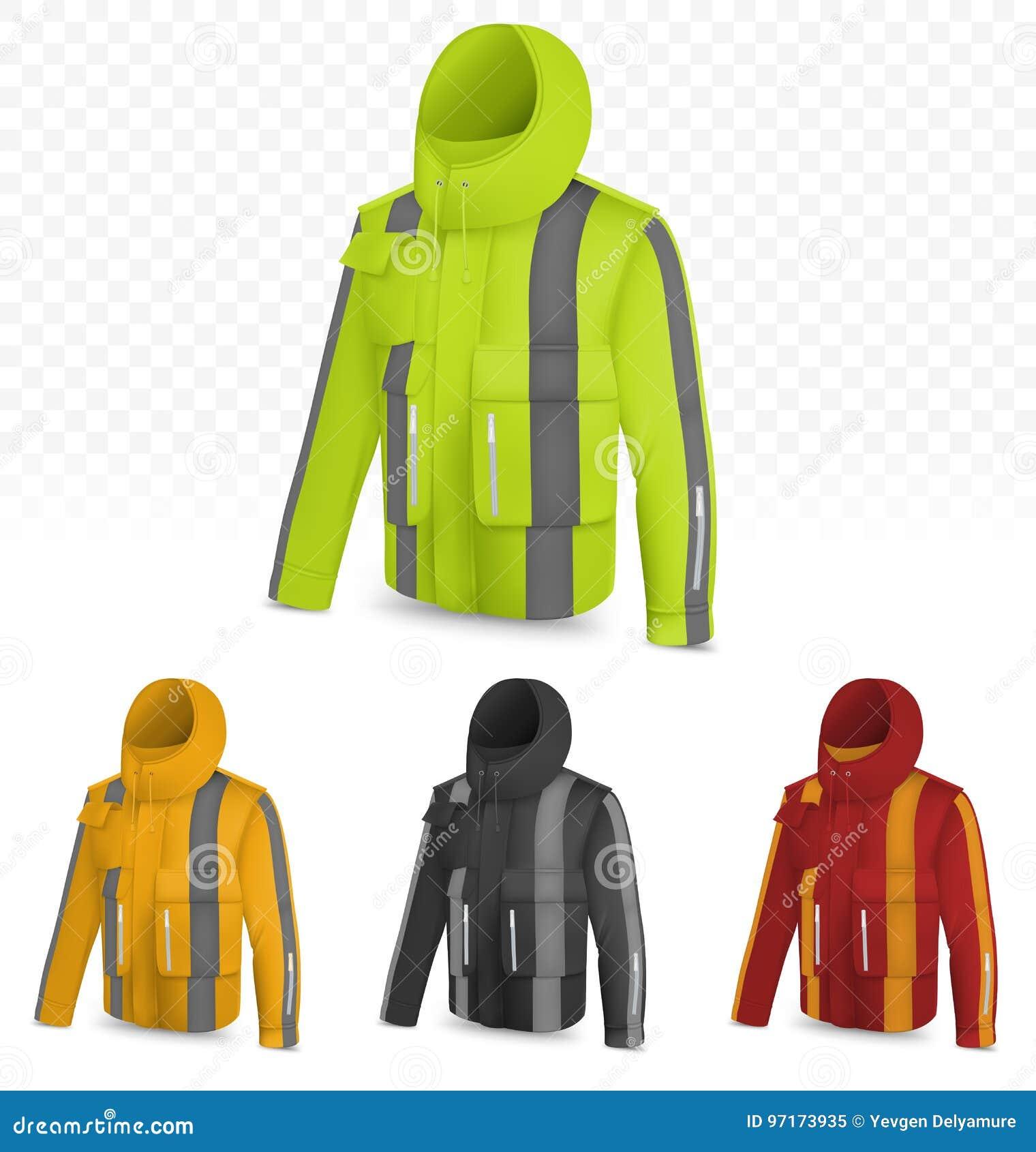 Отражательная куртка на прозрачной предпосылке