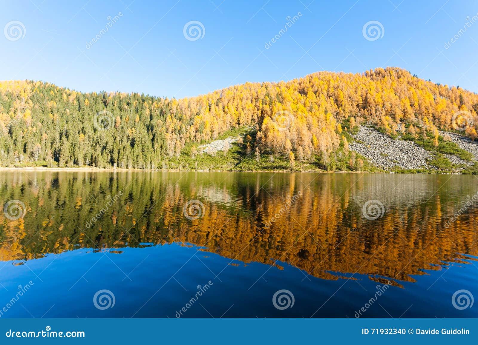 Отражения на воде, панорама осени от озера горы