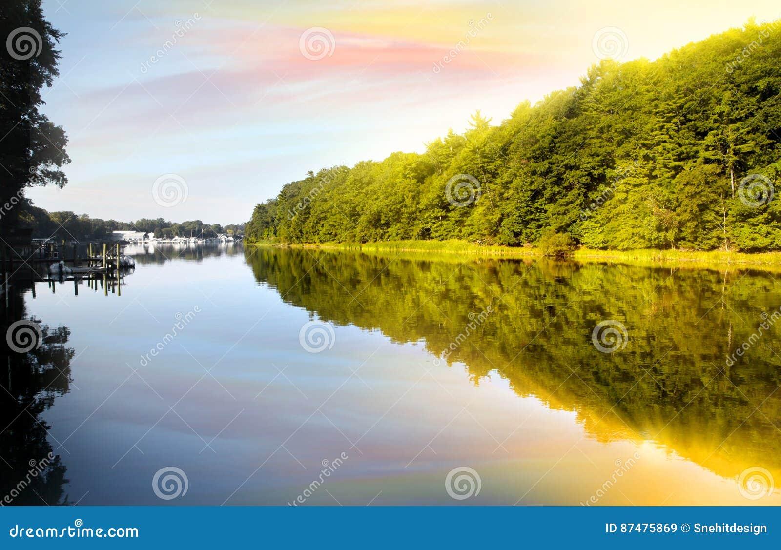 отражения утра на Lake Michigan