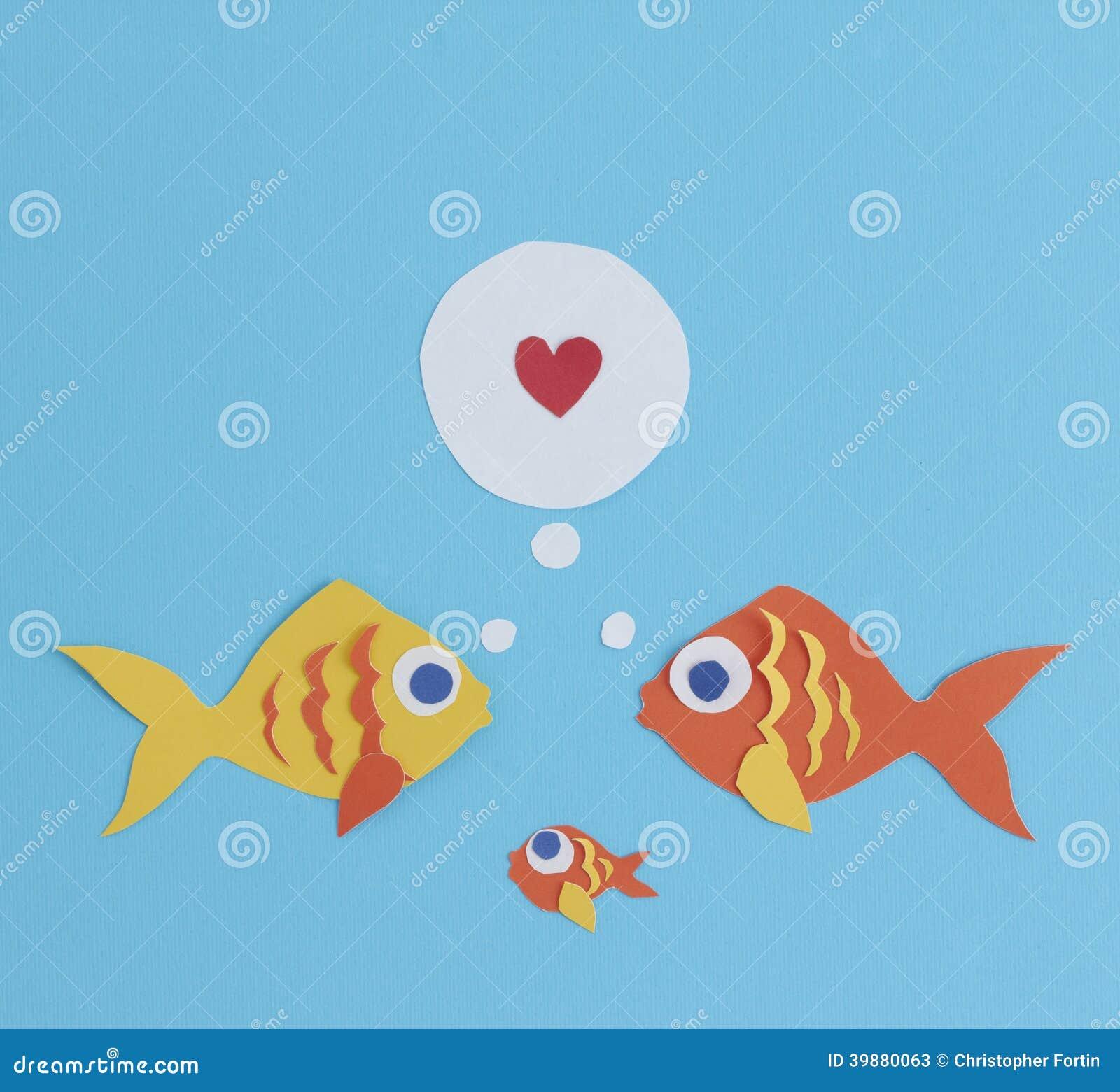Отрезанная бумагой вне семья рыб