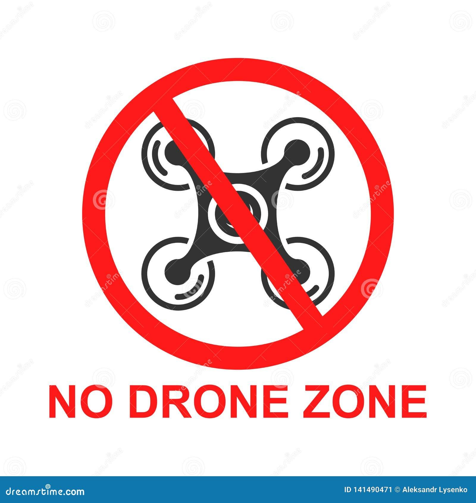Отсутствие значка знака зоны трутня в плоском стиле Иллюстрация вектора запрета Quadrocopter на белой изолированной предпосылке З