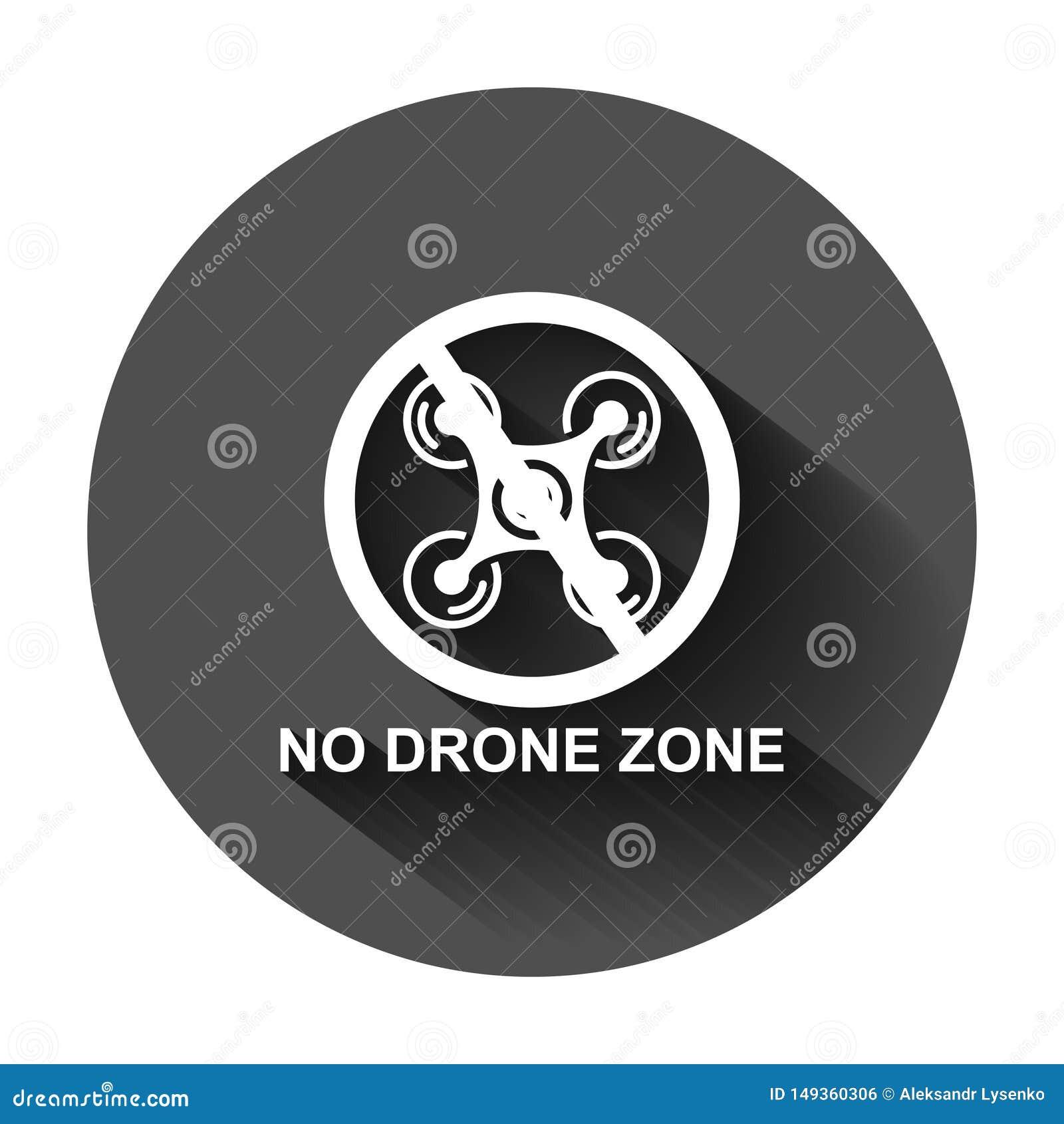 Отсутствие значка знака зоны трутня в плоском стиле Иллюстрация вектора запрета Quadrocopter на черной круглой предпосылке с длин