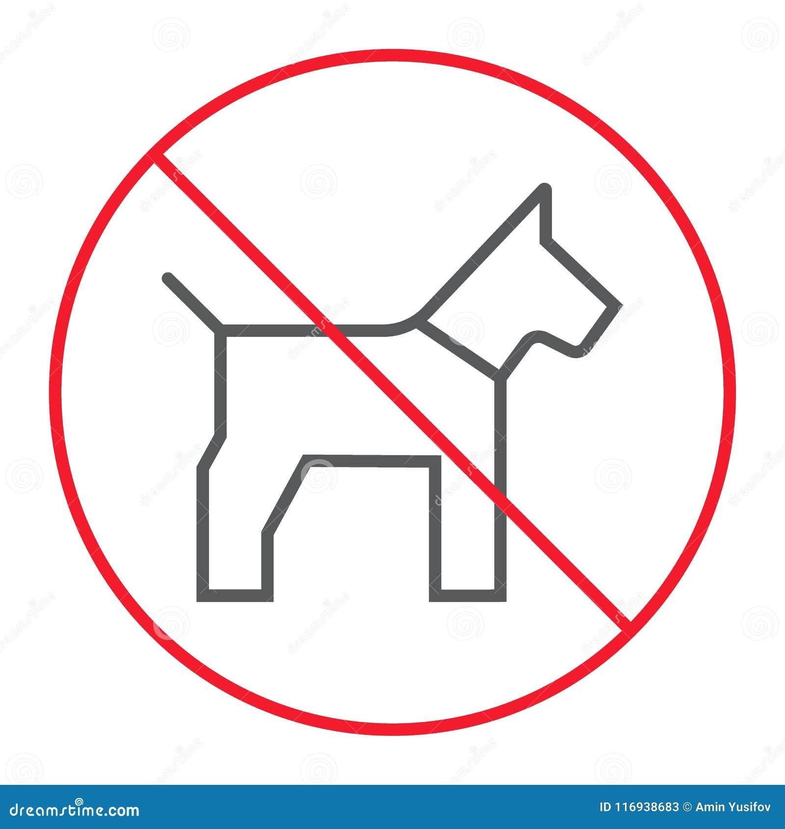 Отсутствие линии значка собаки тонкой, запрета и запрещенный