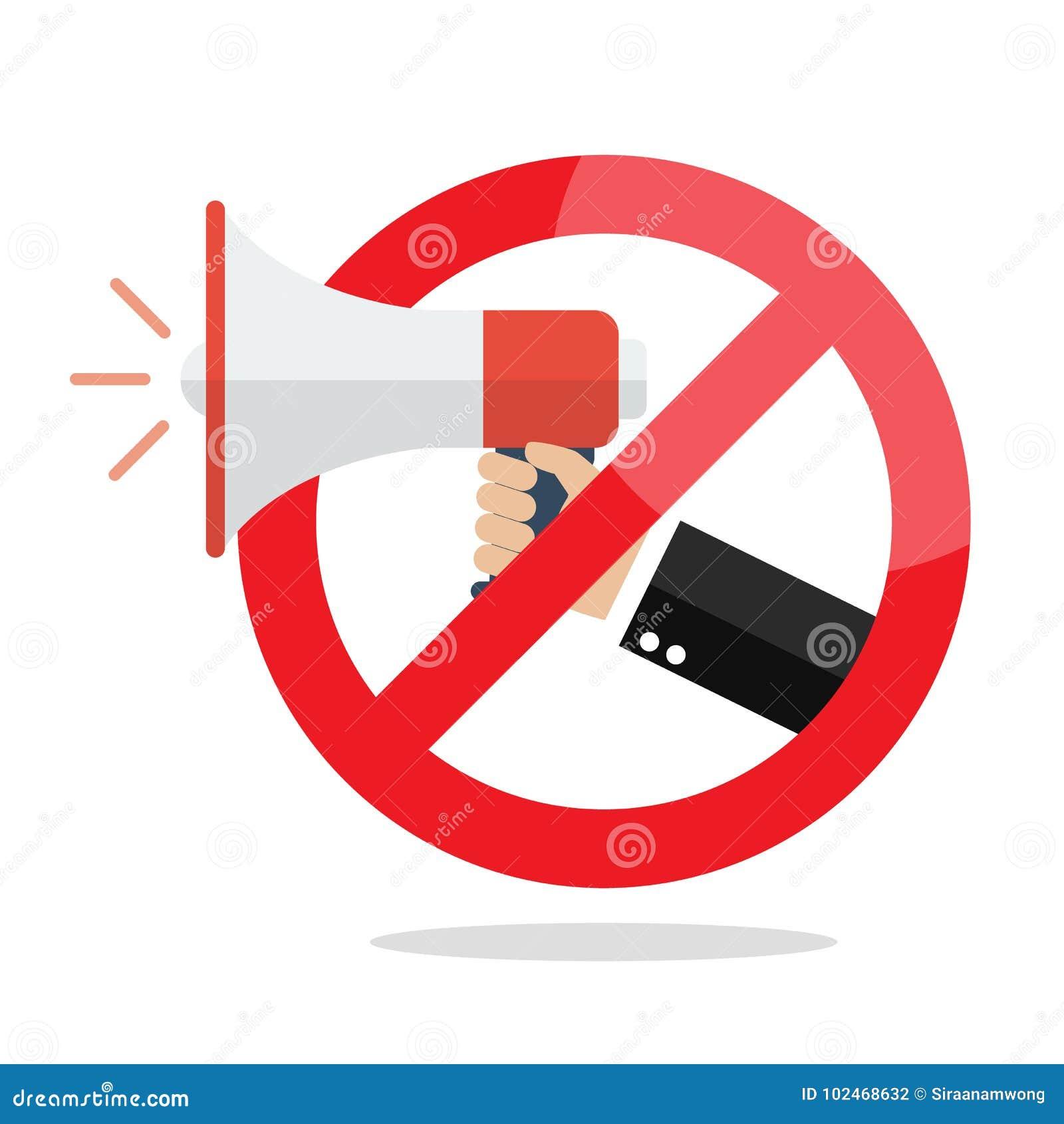 Отсутствие мегафона или отсутствие знака запрета диктора