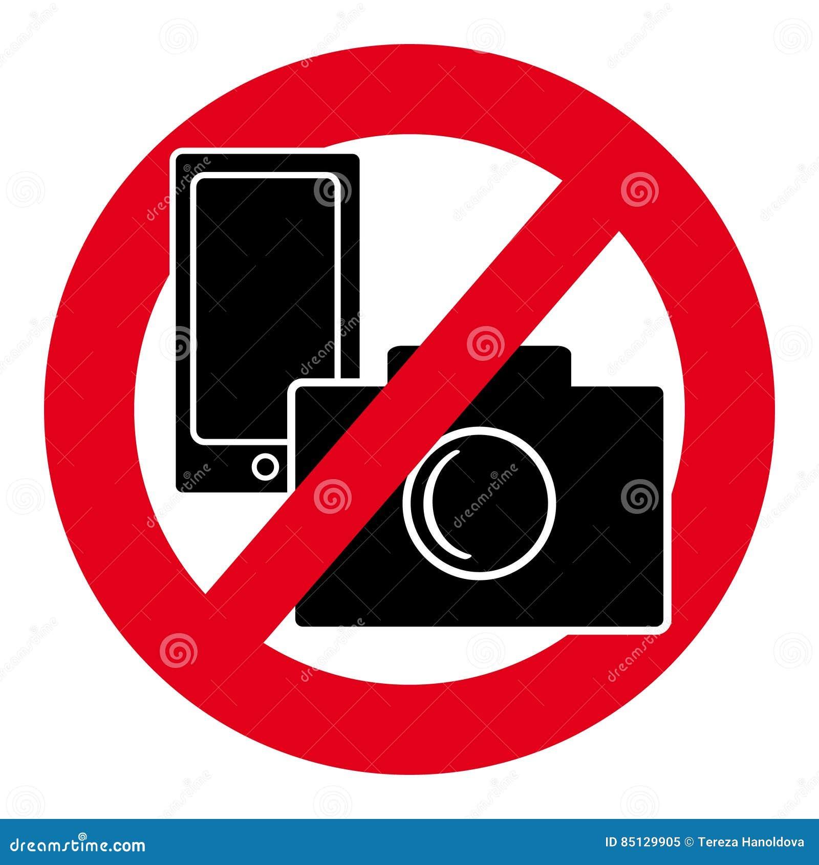 Отсутствие символа камеры и мобильного телефона на белой предпосылке