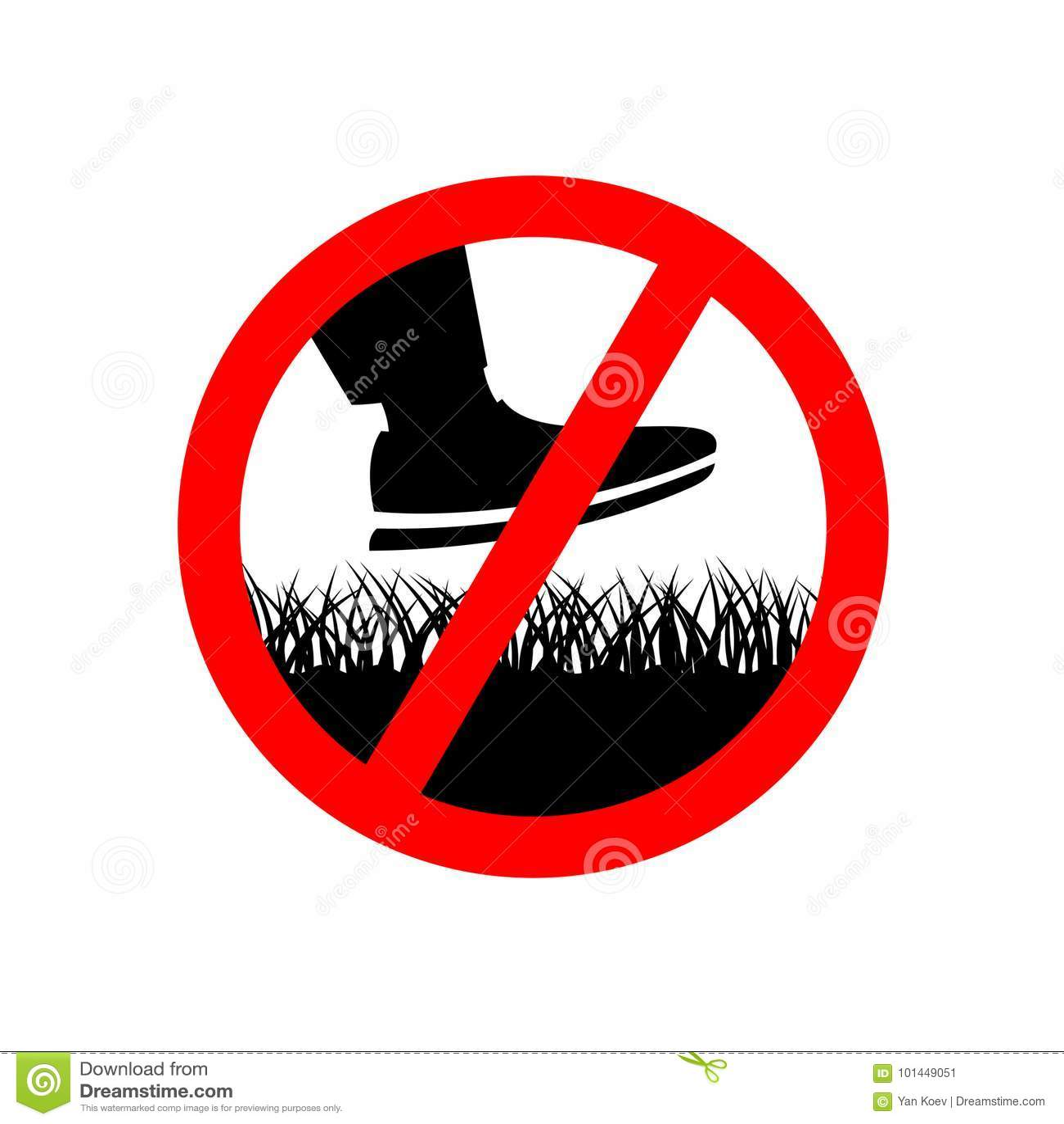 Отсутствие шага на знак запрета травы лужайки