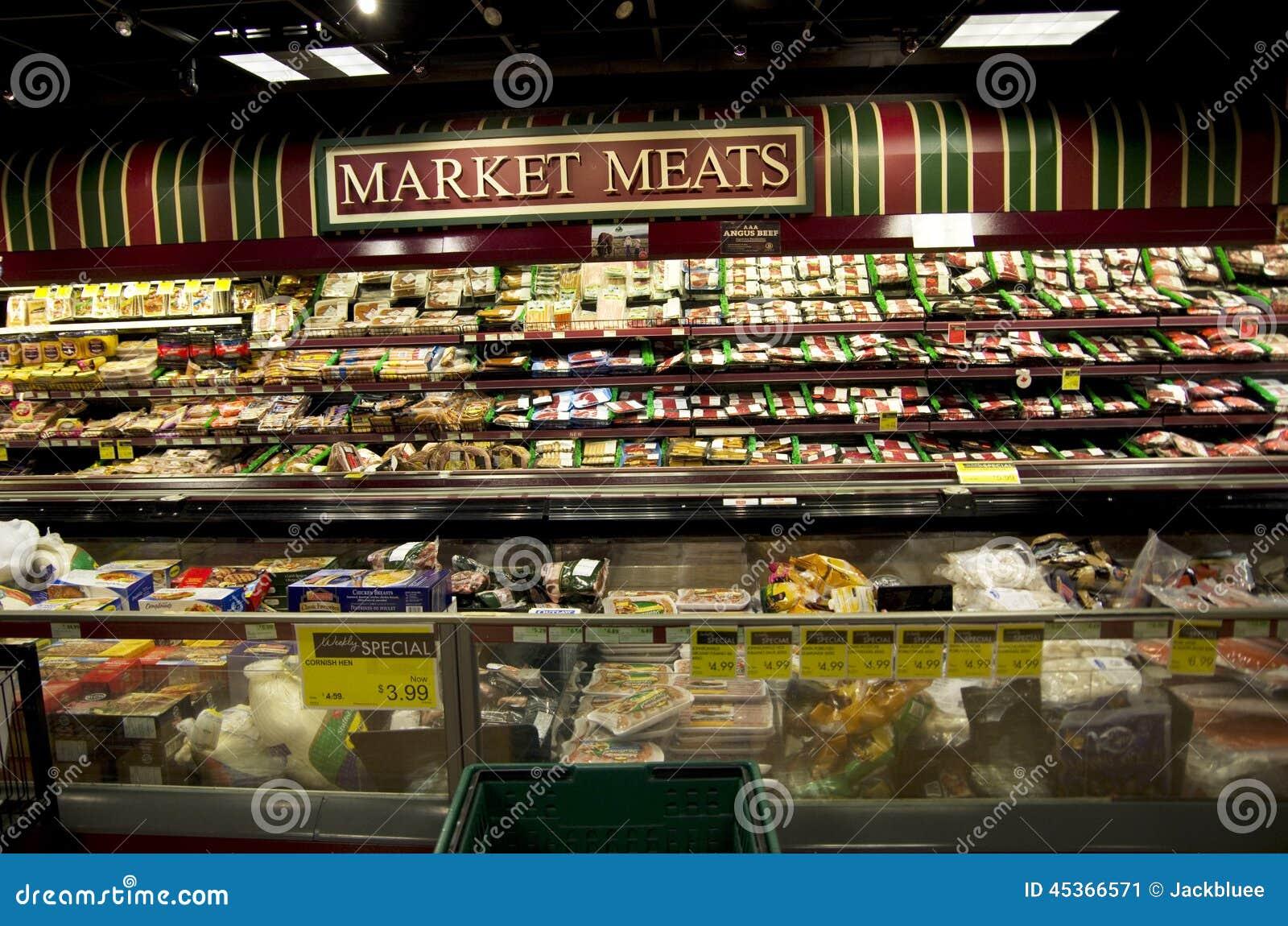 Отдел мяса в супермаркете
