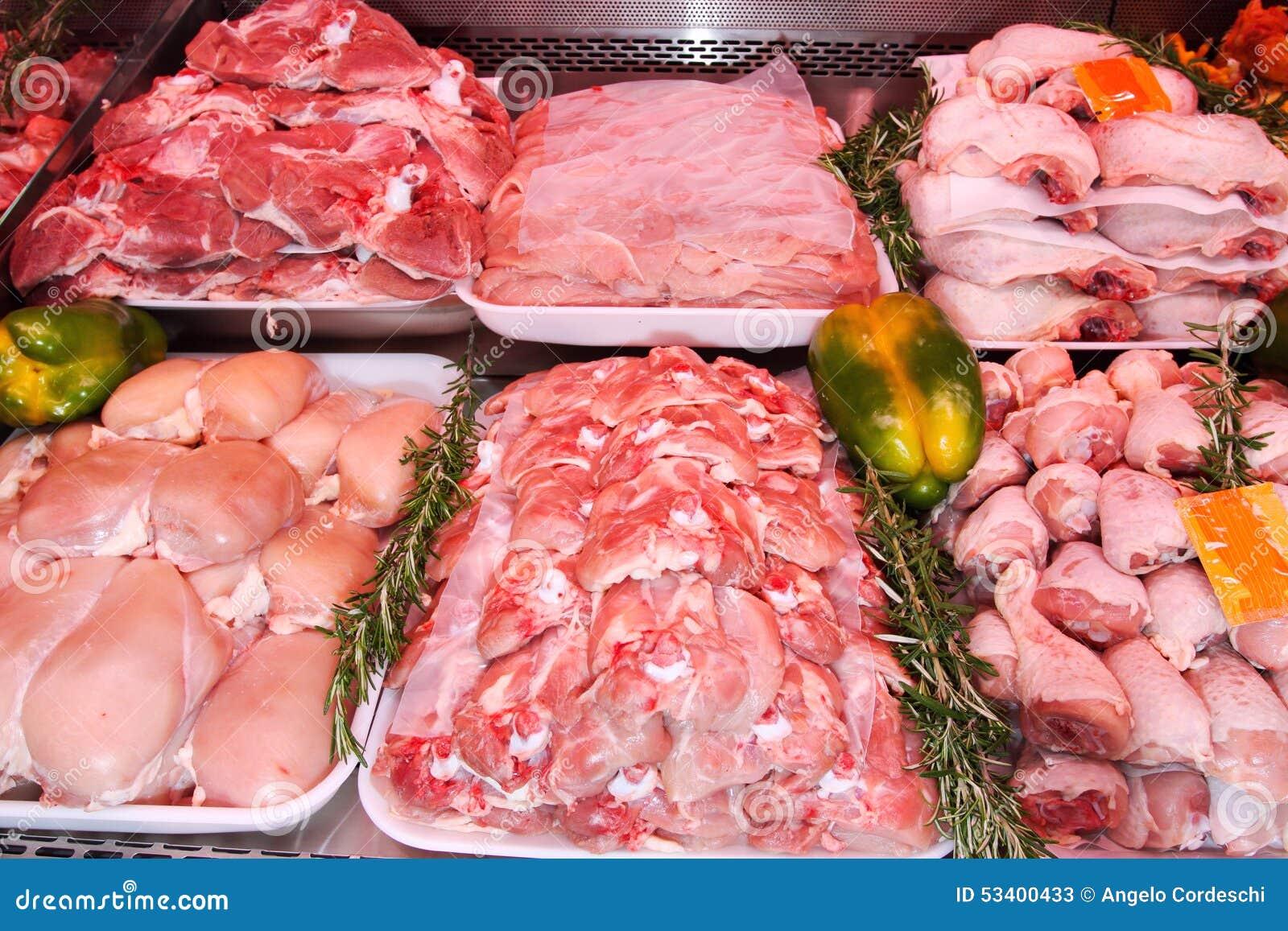 Отдел мяса, дисплей супермаркета Мясная лавка