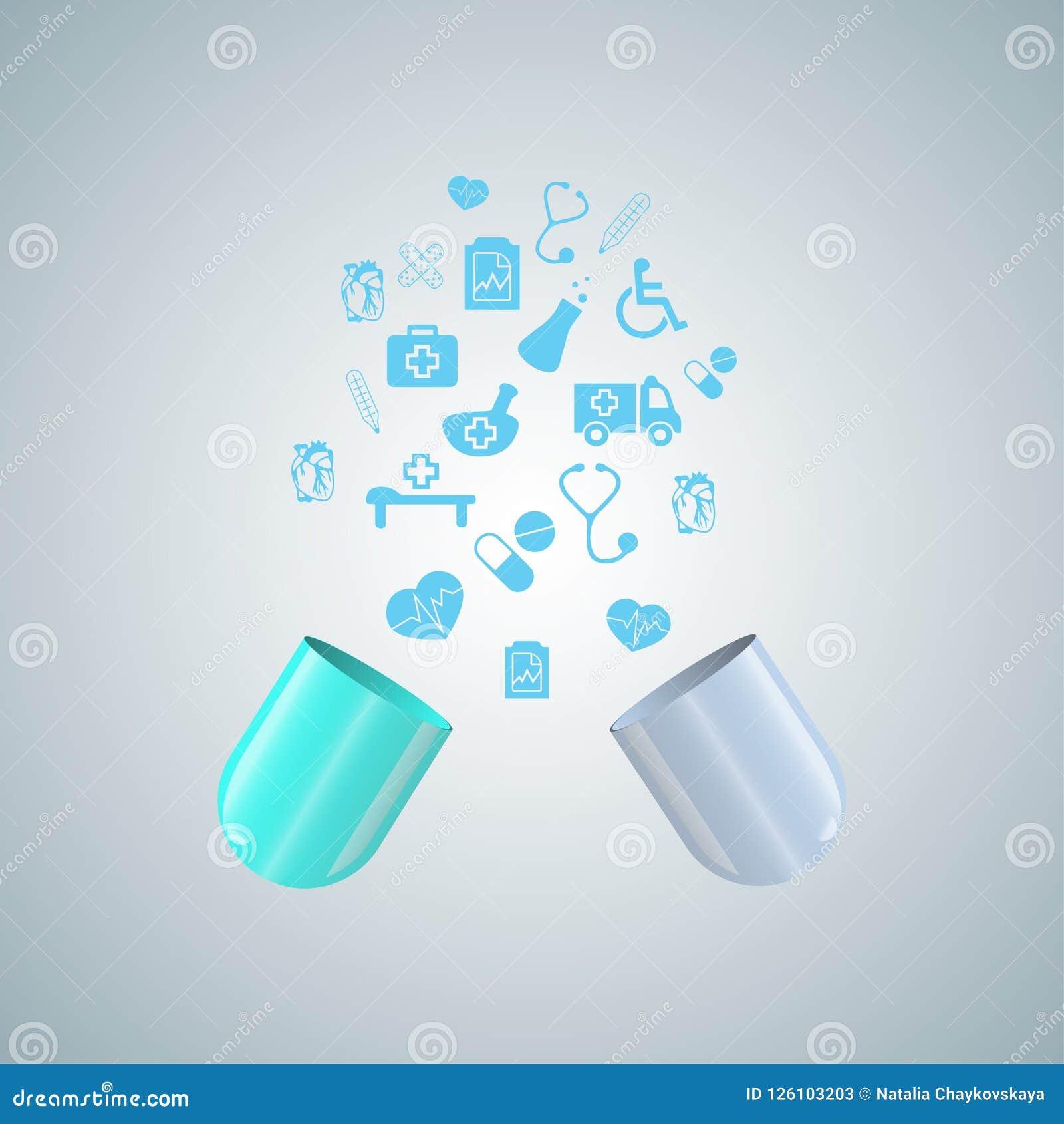 От значков открытой мухы капсулы медицинских, свет - голубая медицинская предпосылка