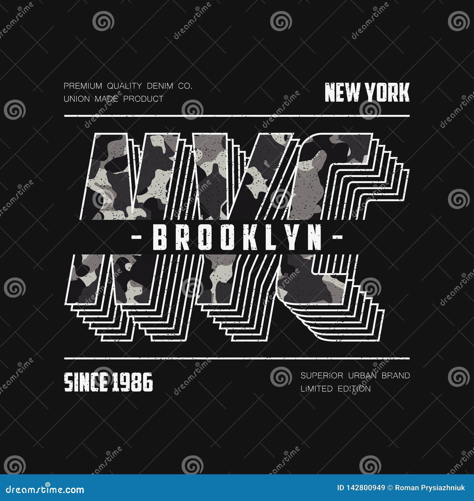 Оформление NYC современное с текстурой камуфлирования Лозунг camo Нью-Йорка для футболки Графики футболки Бруклина r