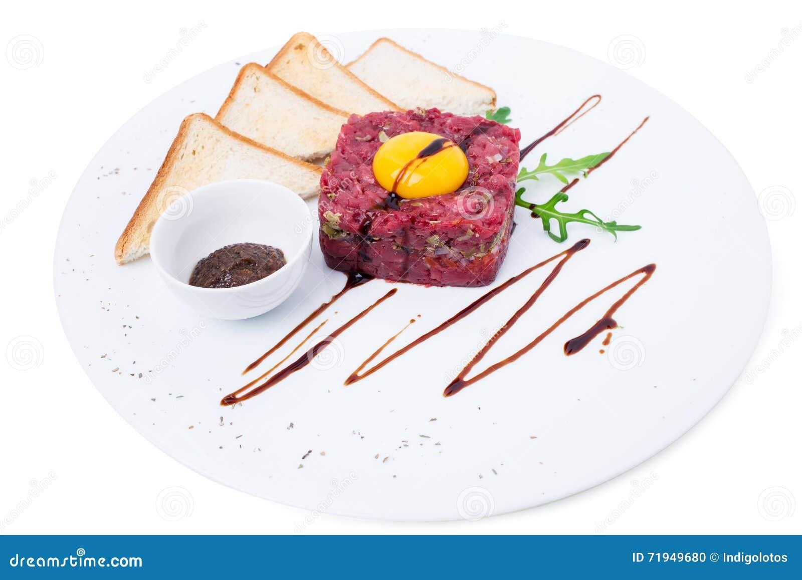Очень вкусное tartare стейка с яичным желтком