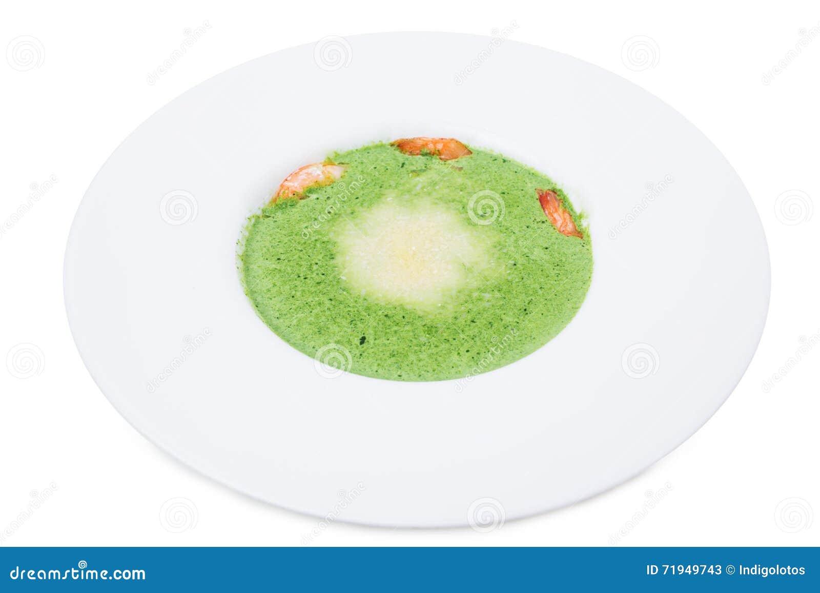 Очень вкусный суп сливк шпината с креветками