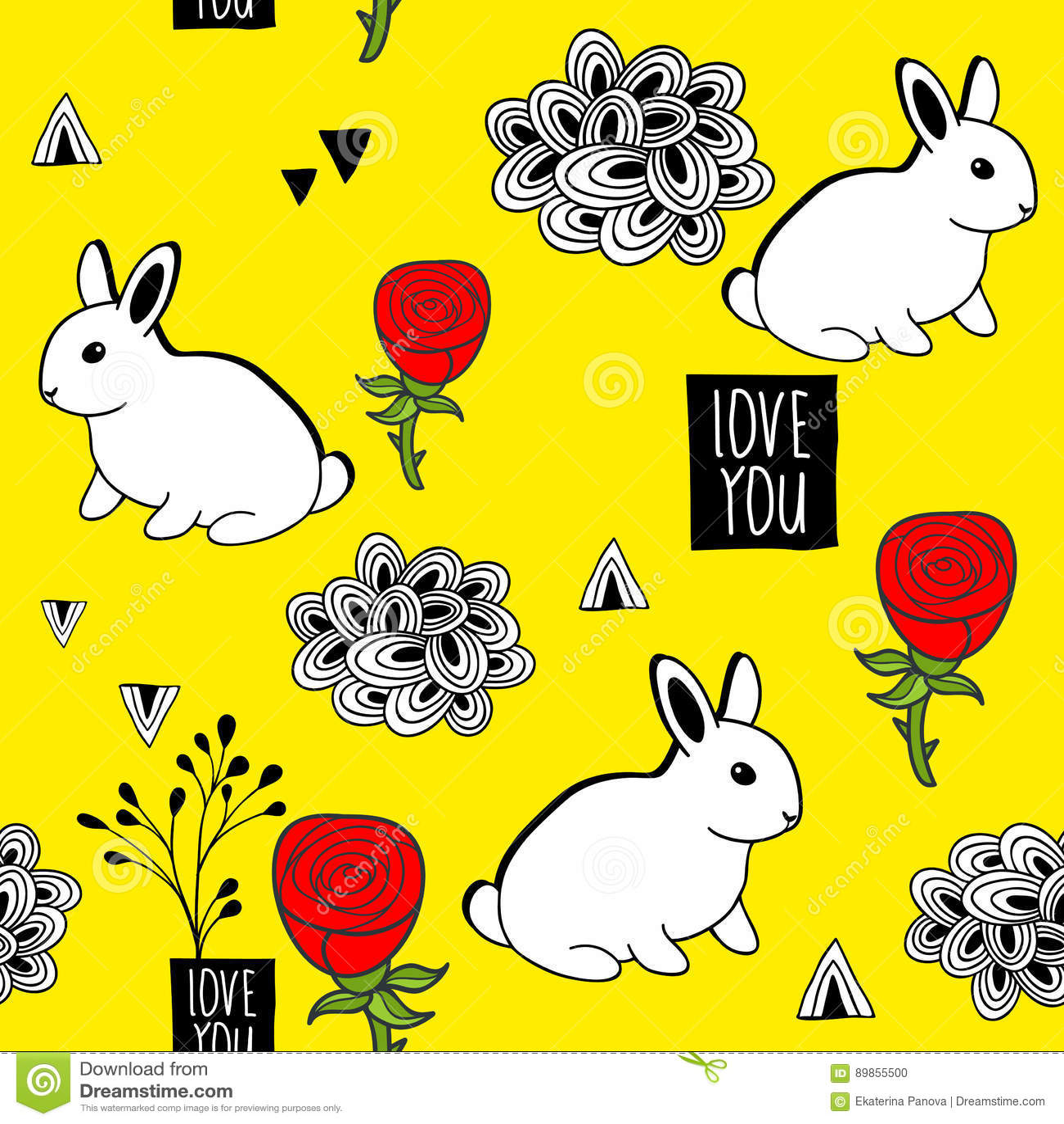 Очень милая безшовная картина с белыми кроликами и романтичным сообщением