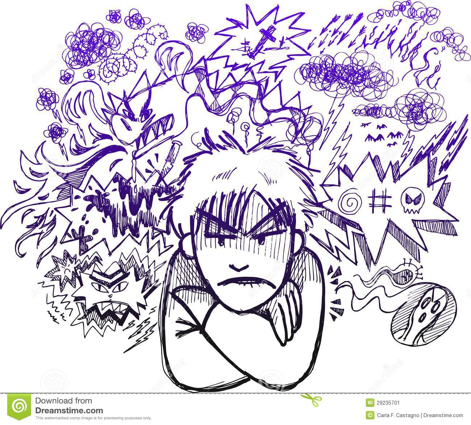 Очень сердитый эскиз doodle человека