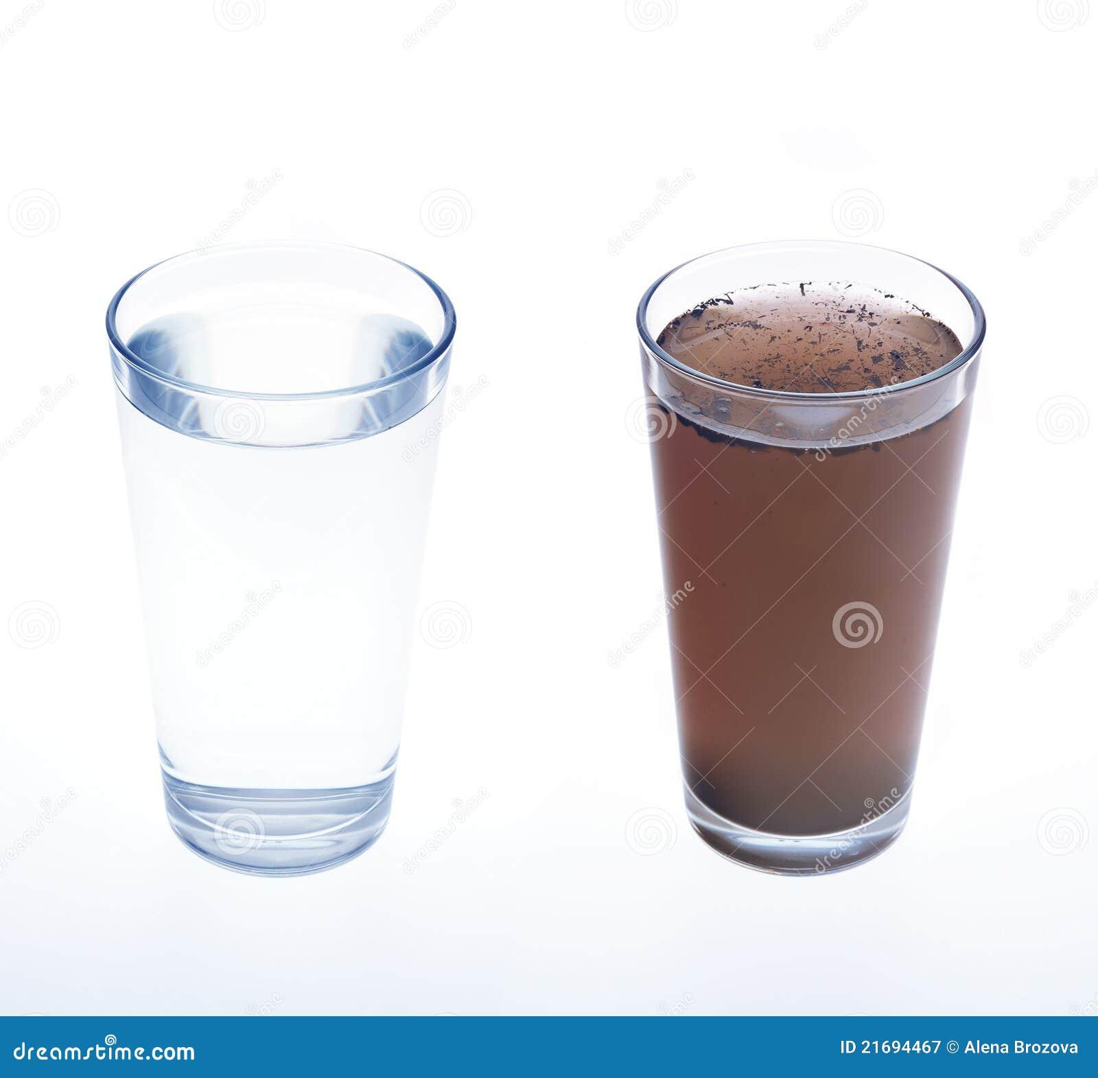 очистьте пакостную воду выпивая стекла