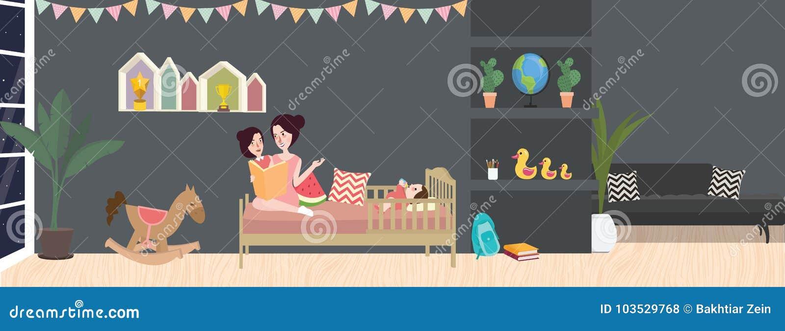 Оягнитесь иллюстрация вектора комнаты внутренняя в сером цвете темного цвета с мамой и ее ребенком